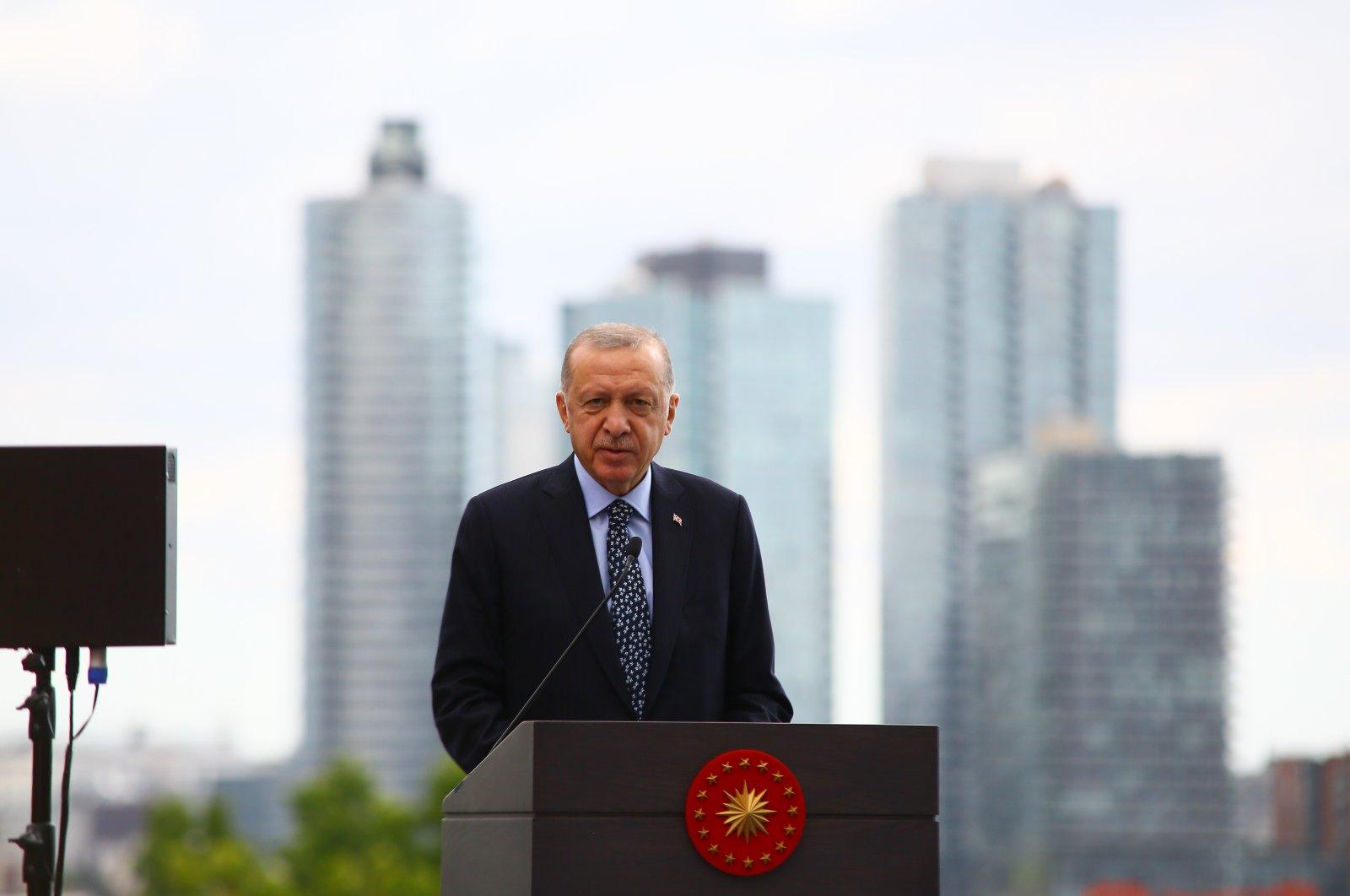 President Recep Tayyip Erdoğan speaks at the opening ceremony of Türkevi (Turkish House) in New York, U.S., Sept. 20, 2021. (İHA Photo)