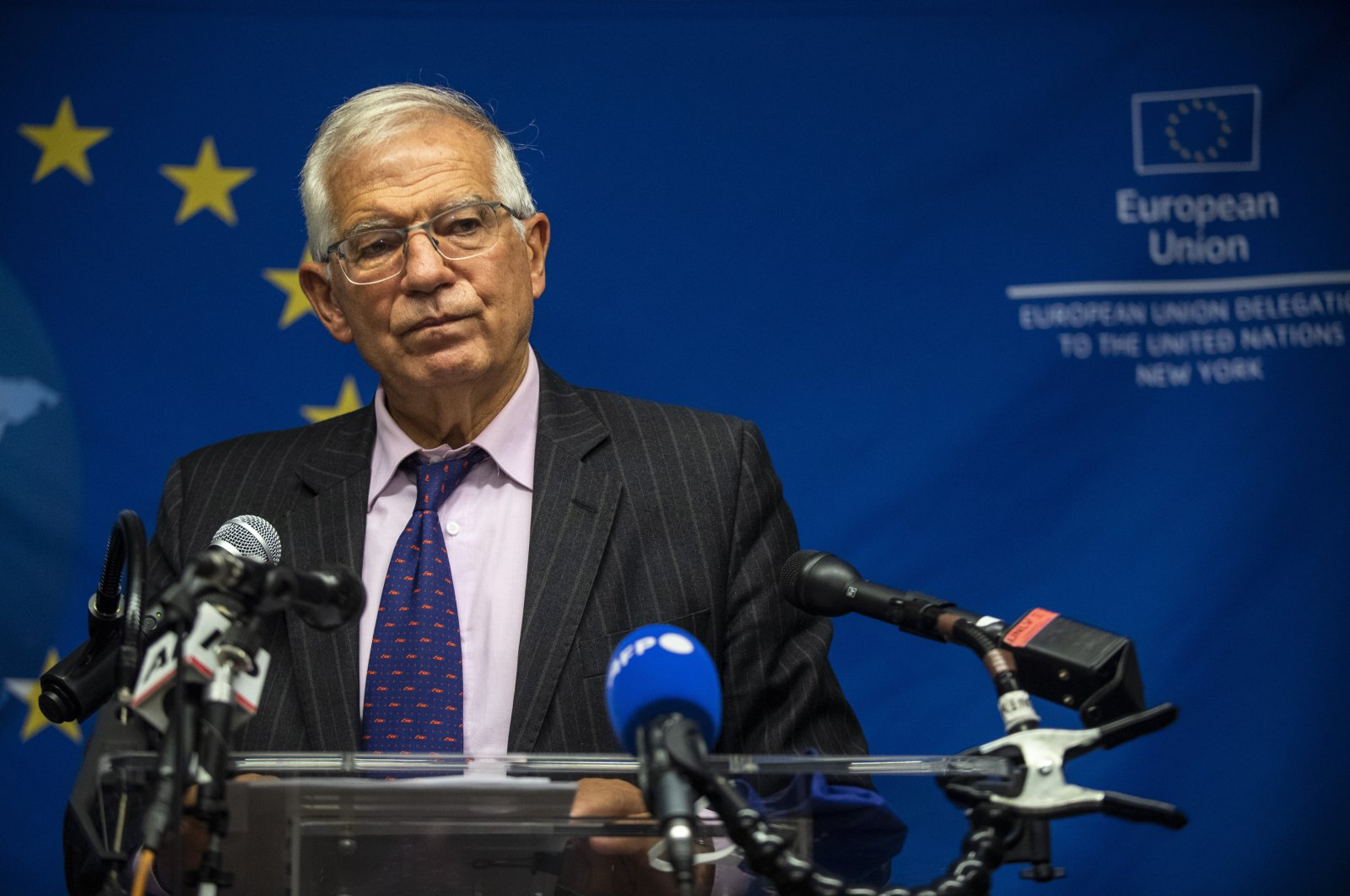 European Union foreign affairs chief Josep Borrell pauses while speaking to the press, New York, U.S., Sept. 20, 2021. (AP Photo)
