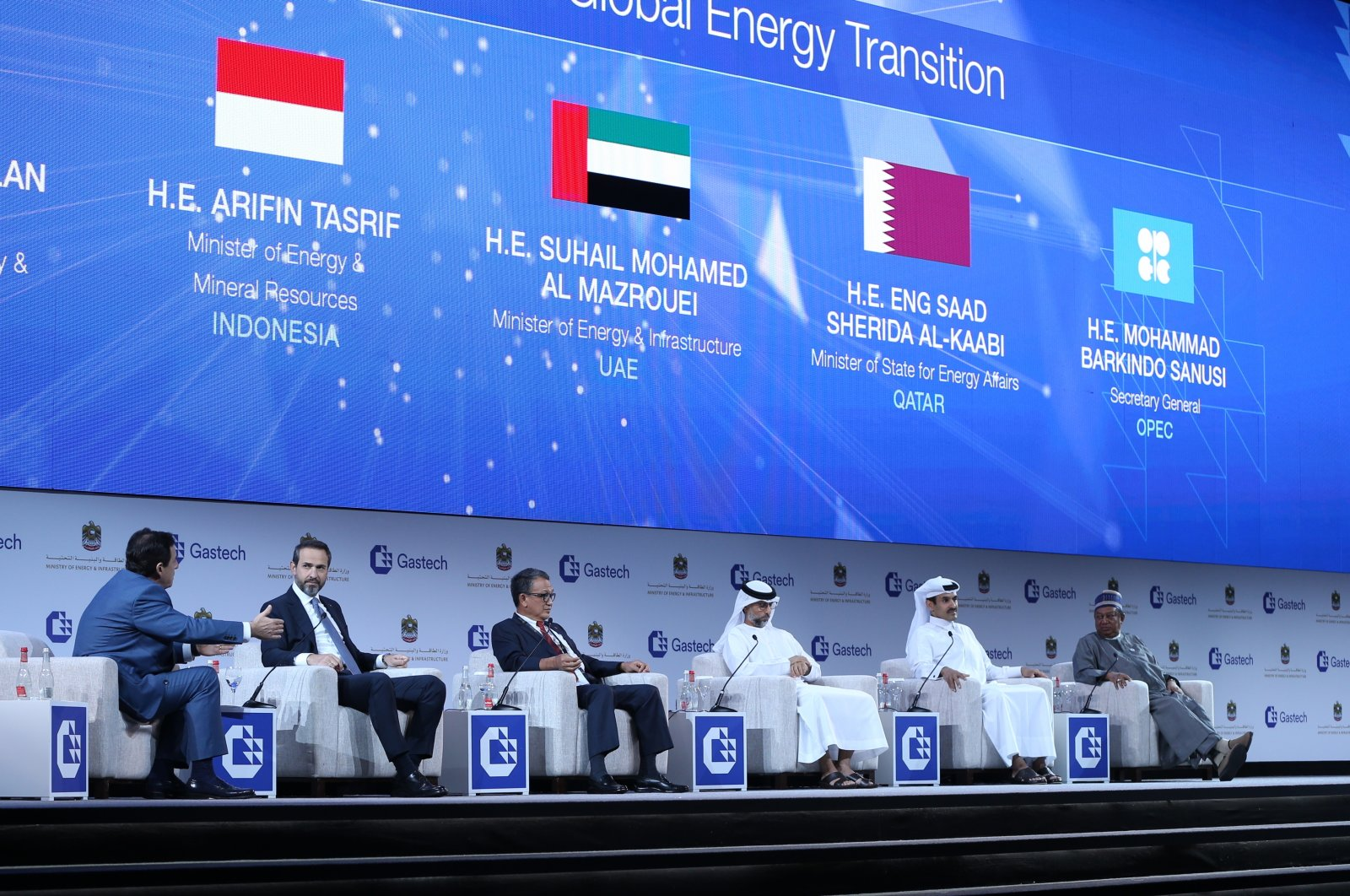 Turkey's Deputy Energy and Natural Resources Minister Alparslan Bayraktar (2nd L) and other officials and executives attend a session during the Gastech 2021 conference in Dubai, United Arab Emirates, Sept. 21, 2021.