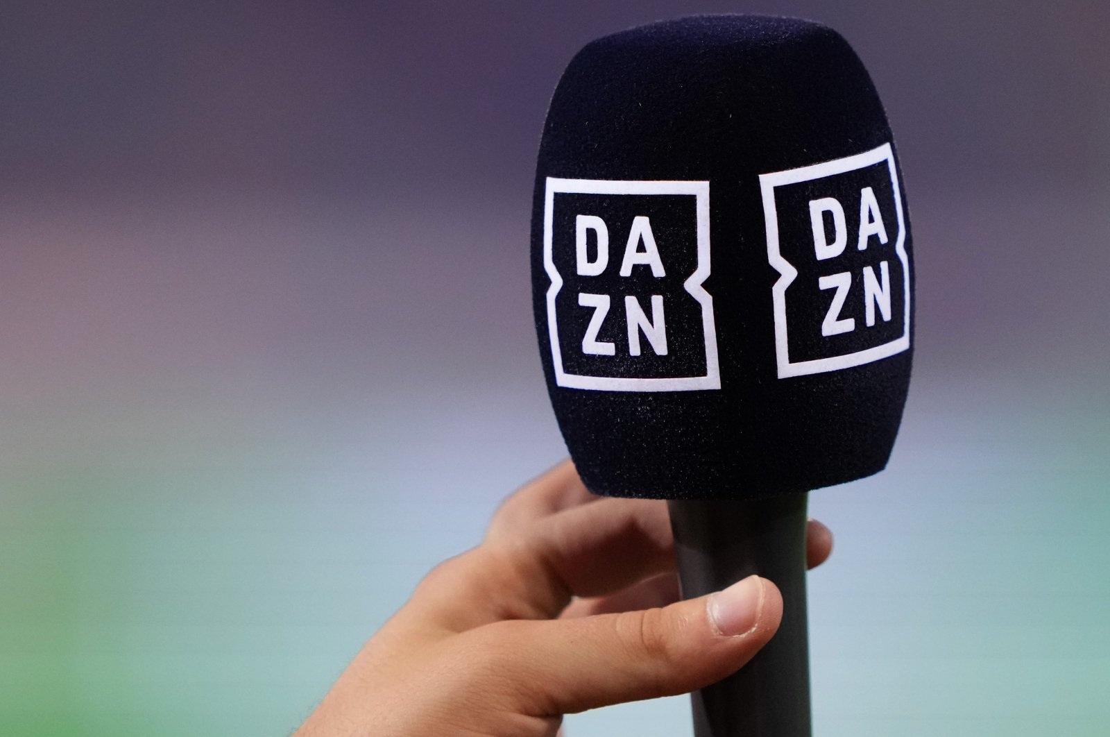 A microphone of sports steaming service DAZN is pictured during a Serie A match between Bologna and Hellas Verona at Bologna, Italy, Sept. 13, 2021. (Getty Images)