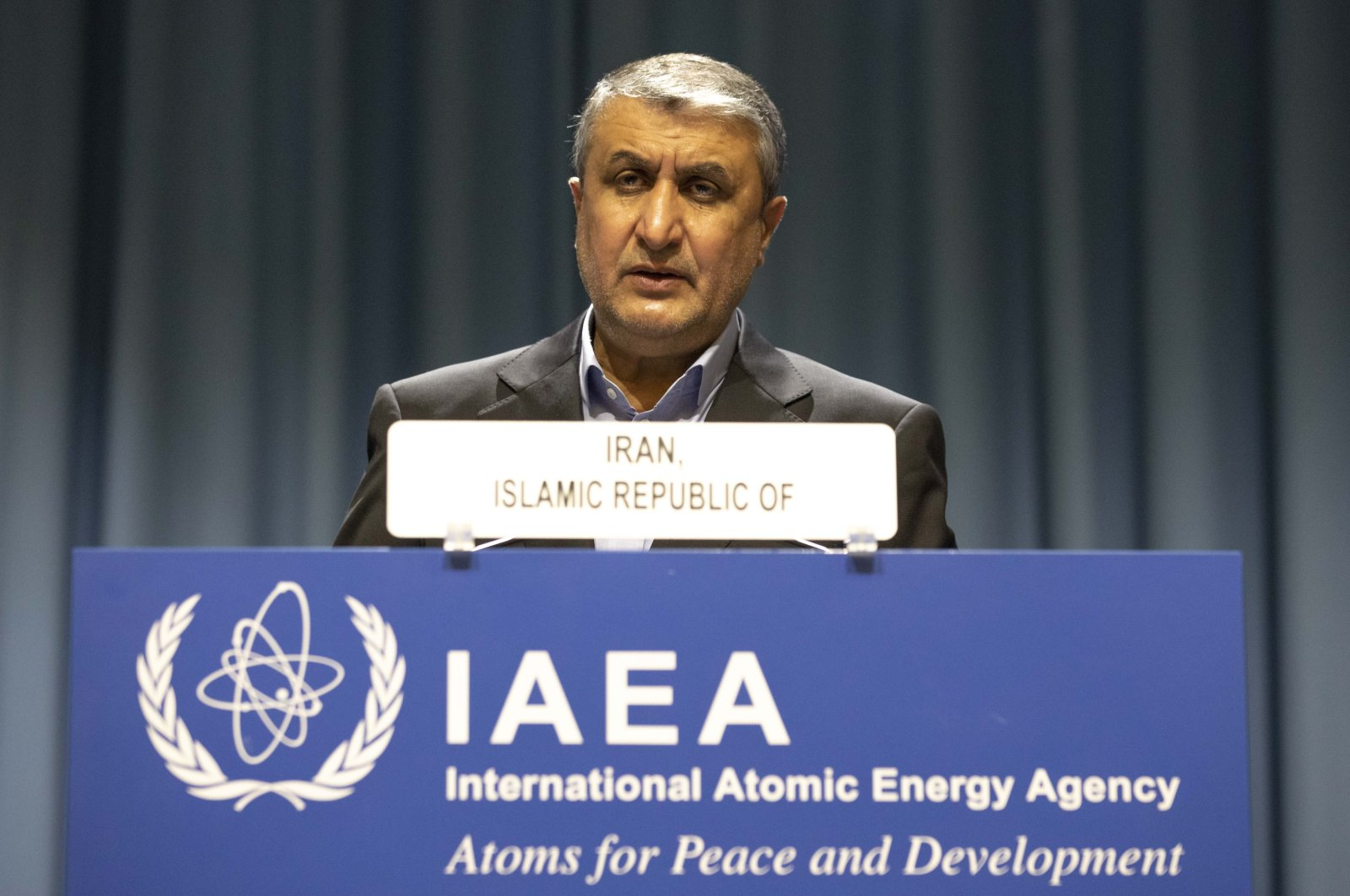 Mohammad Eslami, new head of Iran's nuclear agency (AEOI) talks on stage at the International Atomic Energy's (IAEA) General Conference in Vienna, Austria, Sept. 20, 2021. (AP Photo)