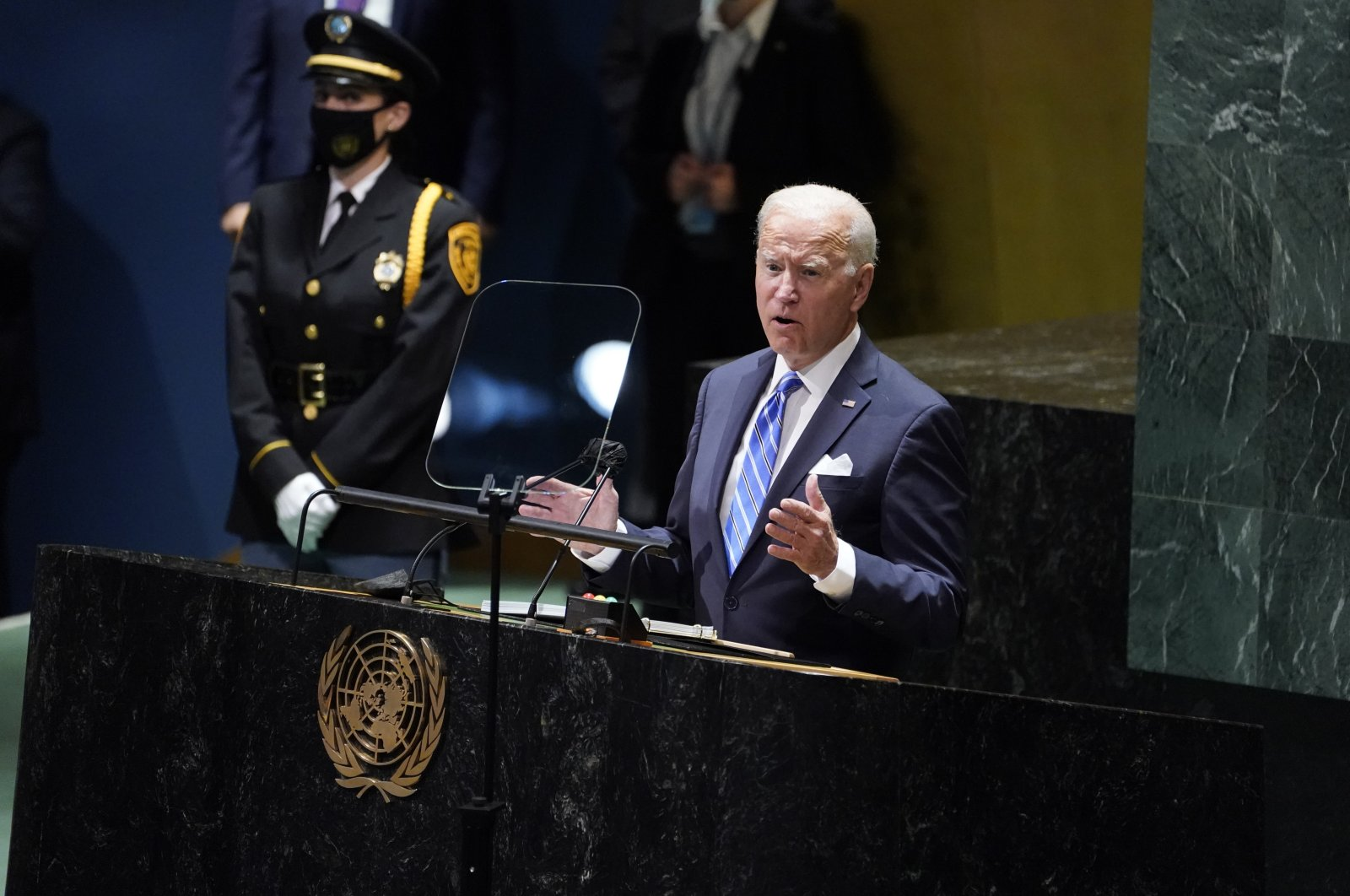 U.S. President Joe Biden delivers remarks to the 76th Session of the United Nations General Assembly, New York, U.S., Tuesday, Sept. 21, 2021. (AP Photo)