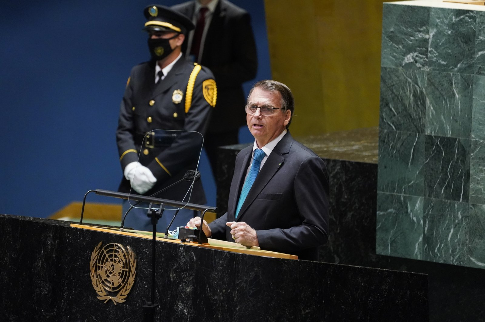 Brazil's President Jair Bolsonaro addresses the 76th Session of the U.N. General Assembly, Tuesday, Sept. 21, 2021, at United Nations headquarters in New York. (AP Photo)