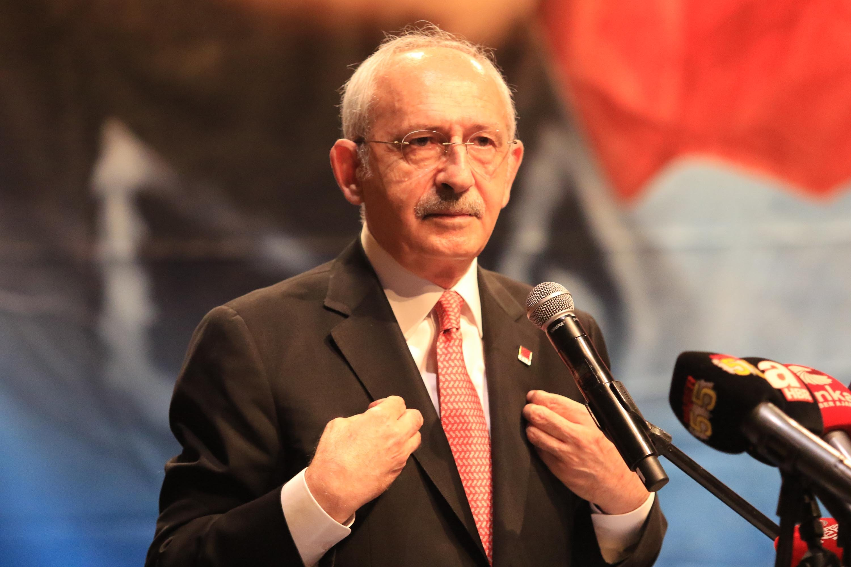 Republican People's Party (CHP) Chair Kemal Kılıçdaroğlu speaks at a meeting with shopkeepers and headmen, in Samsun, Turkey, on July 1, 2021. (DHA Photo)