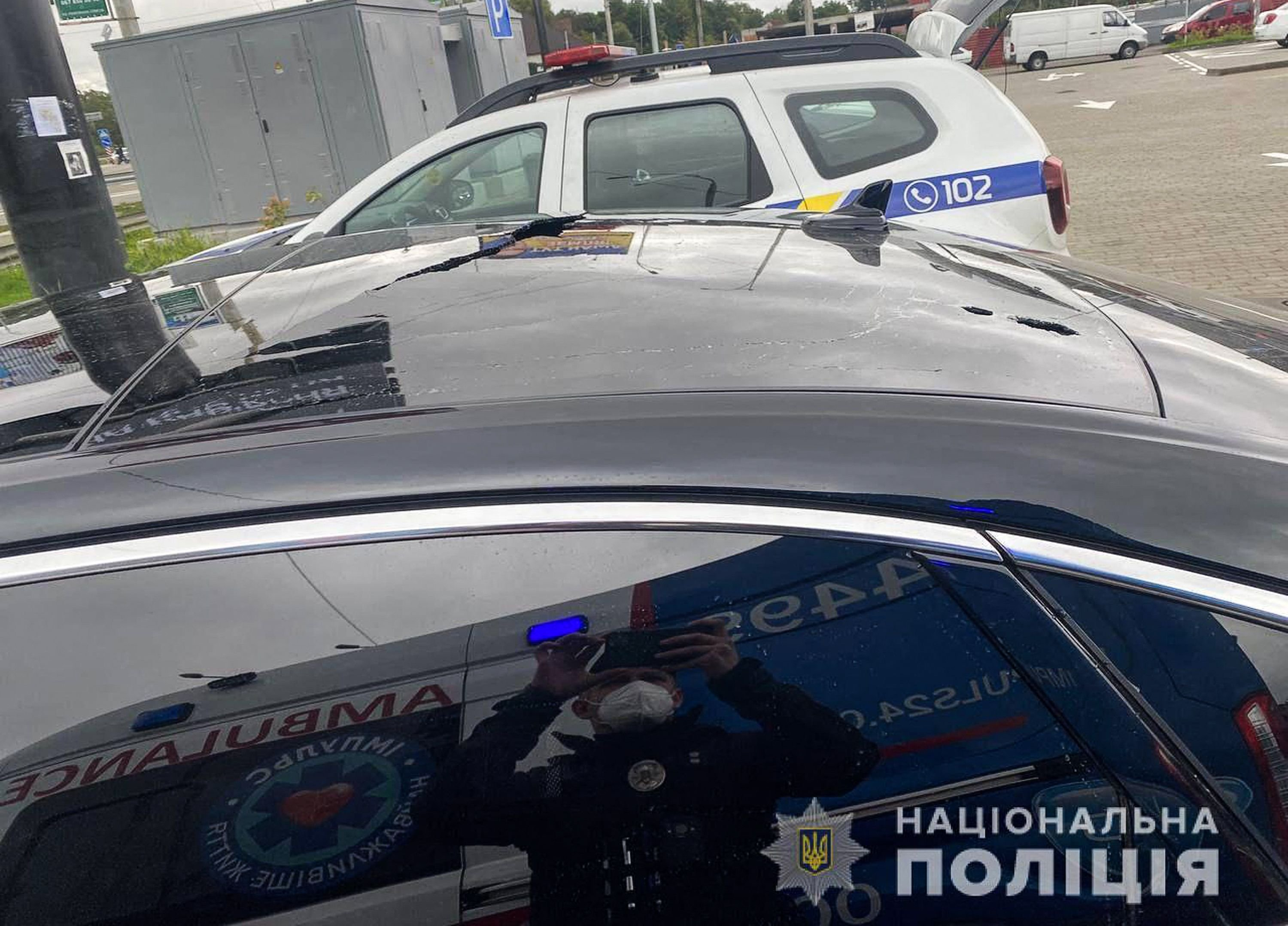 A handout photograph taken and released on Sept. 22, 2021 by the Ukrainian Interior Ministry press office shows the bullet impacts on the car of the Ukrainian president's Chief Aide Sergei Shefir, in Kyiv, Ukraine. (Ukrainian Interior Ministry Press Services via AFP)