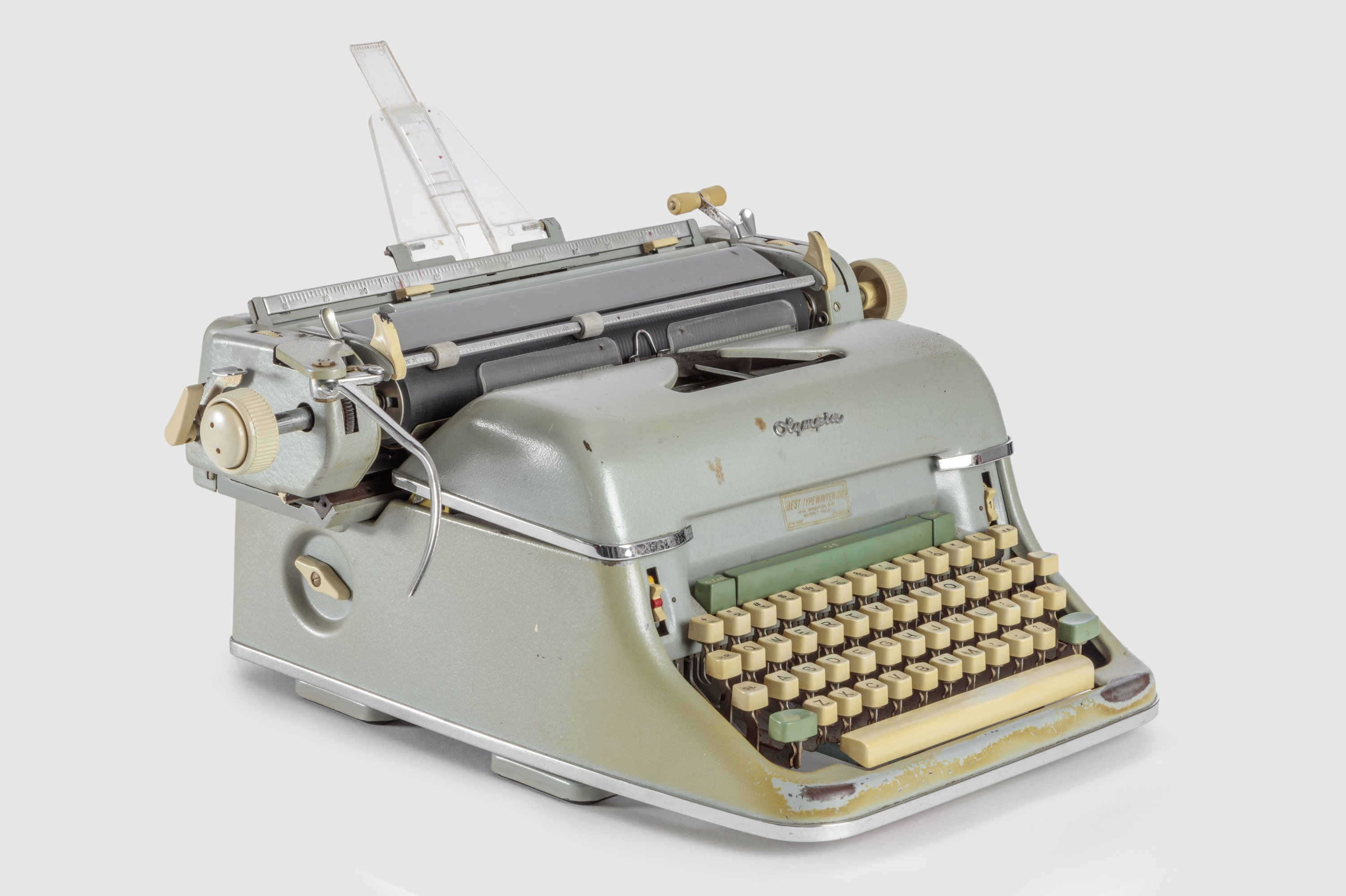 The typewriter used by Joseph Stefano to write the screenplay for Alfred Hitchcock's 'Psycho' features in the new Academy Museum of Motion Pictures. (DPA Photo)