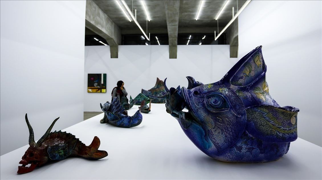 """Works from """"Memory Chamber' in Pilevnelei Gallery, Istanbul. (AA Photo)"""