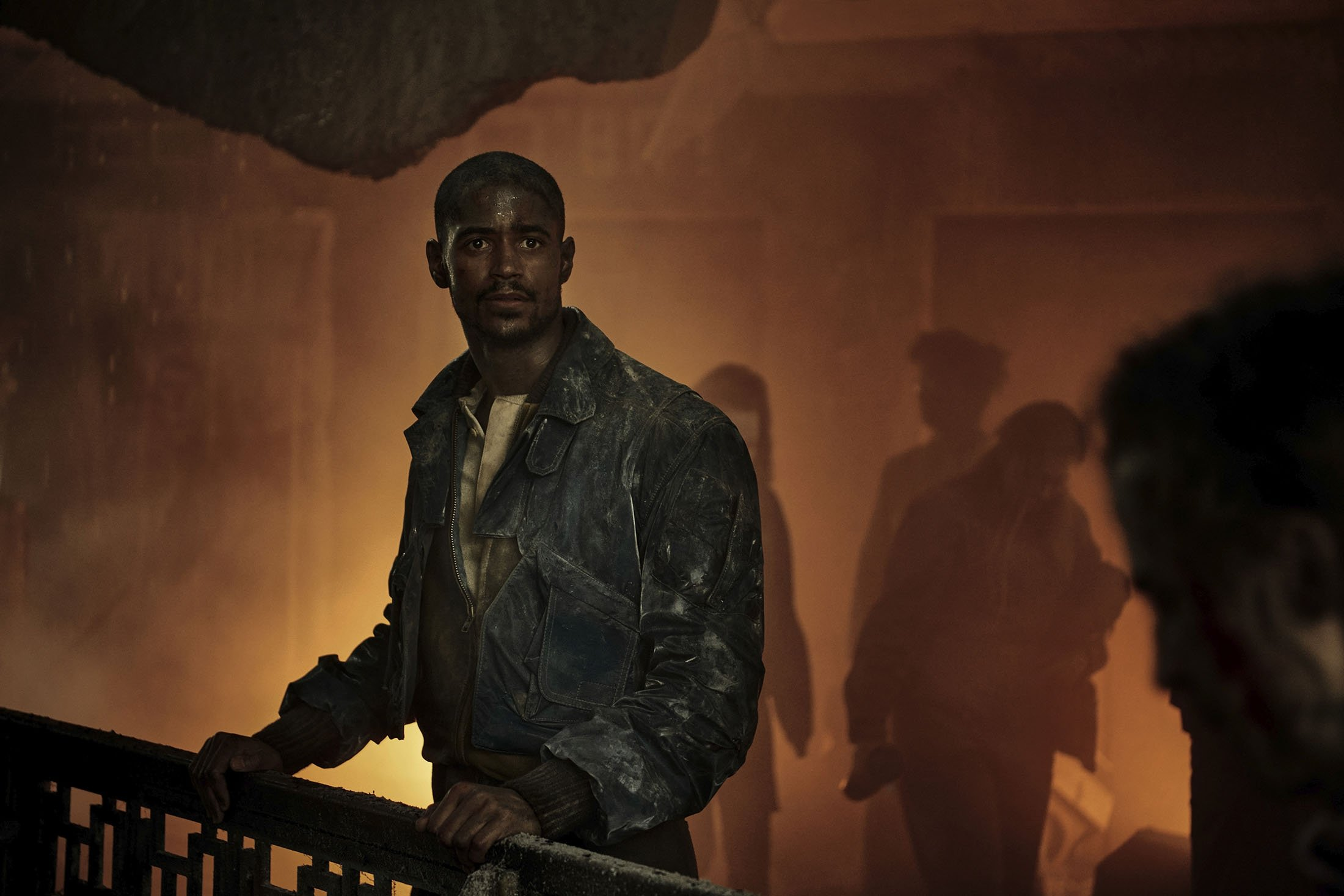 """Alfred Enoch, in a scene from the series """"Foundation,"""" premiering Sept. 24, 2021. (Apple TV  via AP)"""