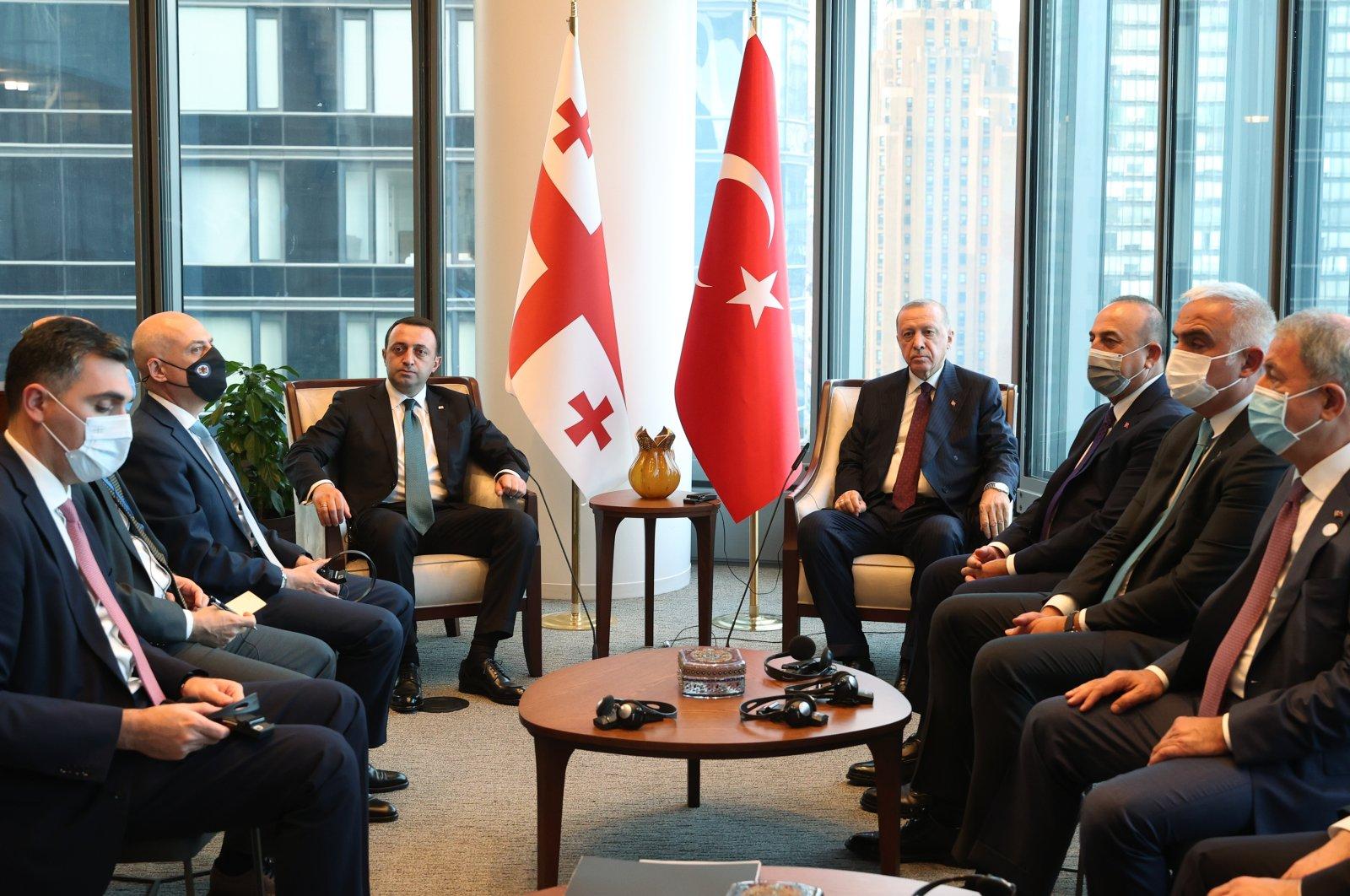 President Recep Tayyip Erdoğan holds a meetıng with Georgian PM Irakli Garibaşvili at Turkish House in New York City, Tuesday, Sept. 21, 2021. (AA Photo)