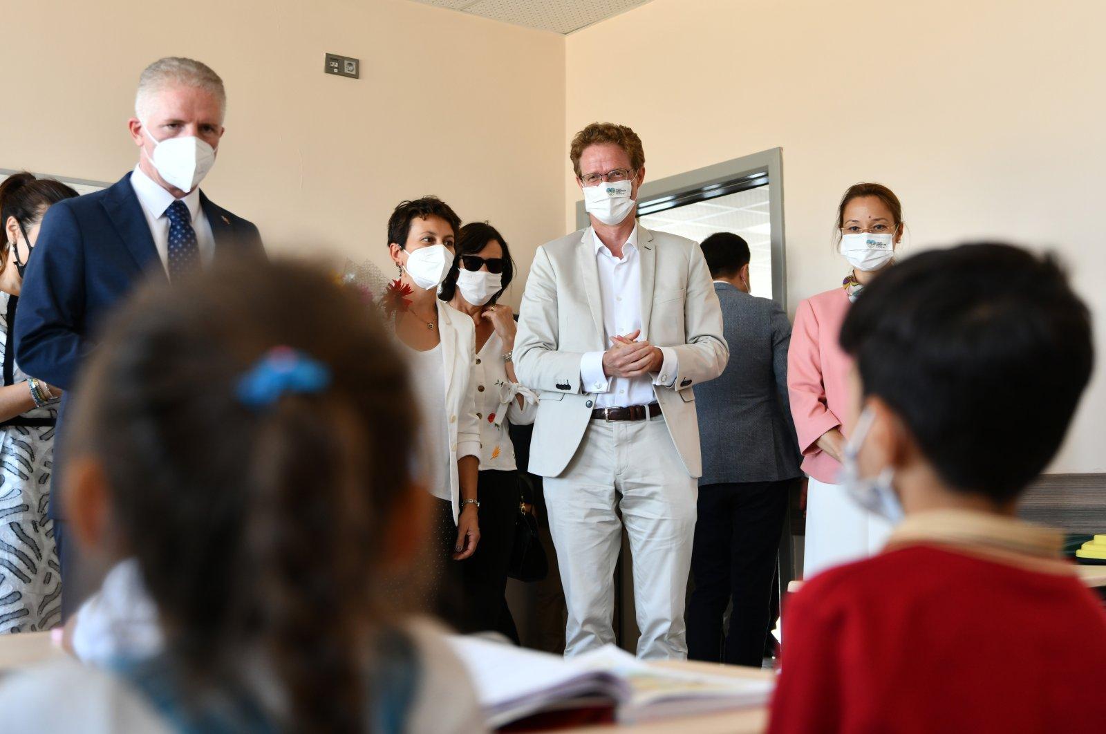 Head of the EU delegation to Turkey Nikolaus Meyer-Landrut visits the Abdulkadir Ateş Primary school in the Şahinbey district, Gaziantep, Turkey, Sept. 21, 2021 (AA Photo)