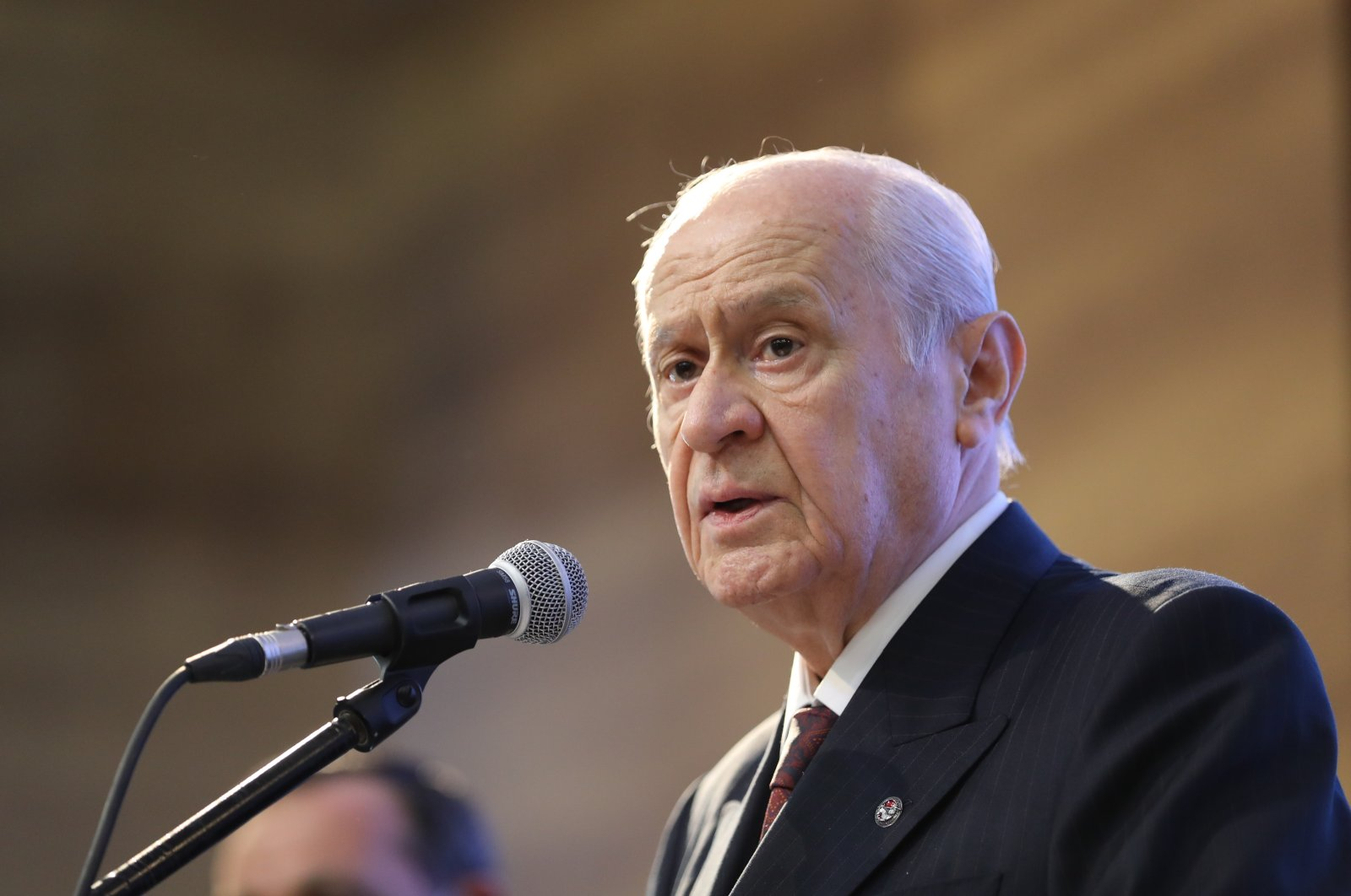 MHP Chairperson Devlet Bahçeli speaks at the inauguration ceremony of a park in Ankara, Turkey, Aug. 29, 2021. (AA File Photo)