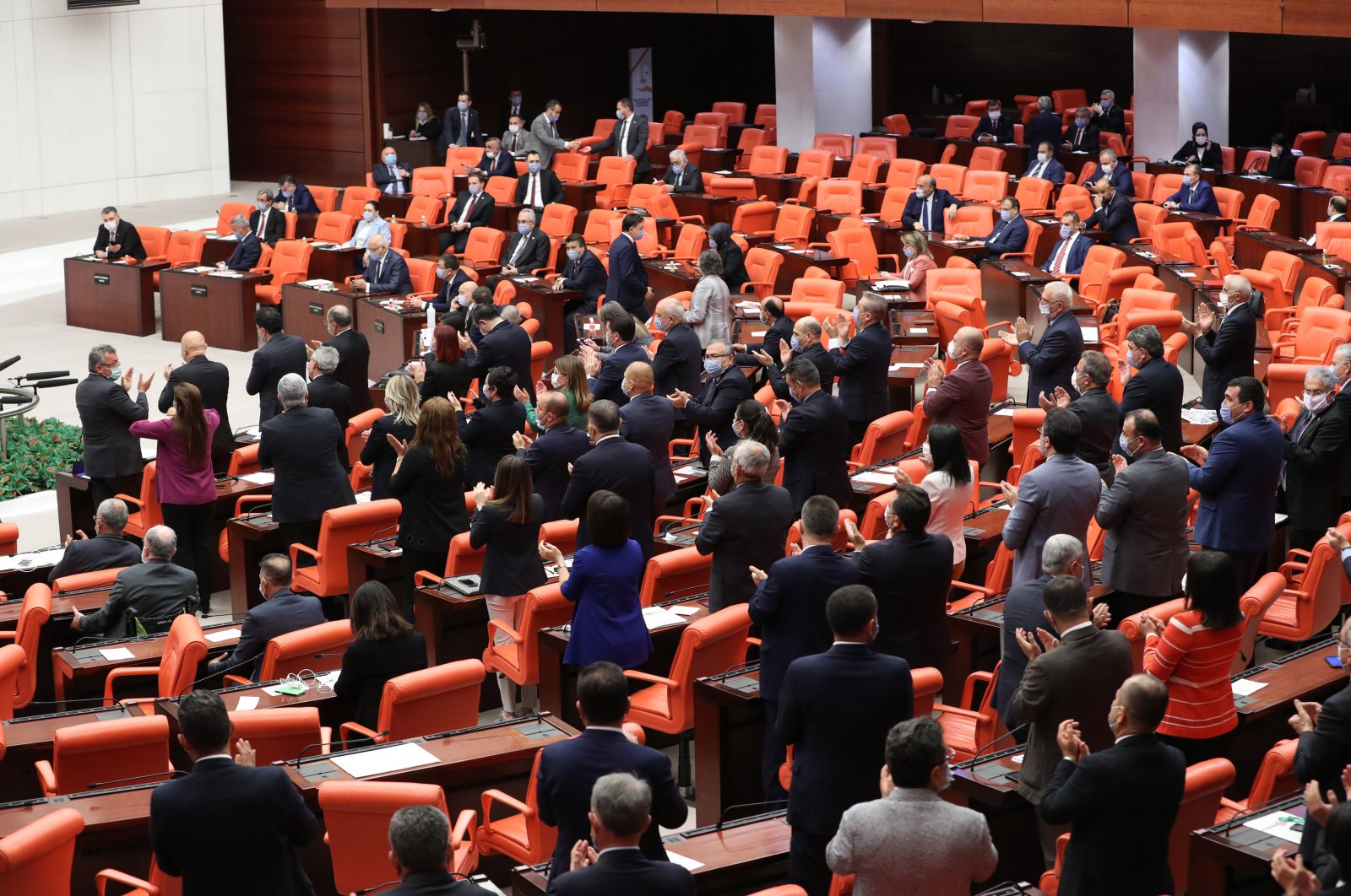 The deputies of the Republican People's Party (CHP) and the Peoples' Democratic Party (HDP) protest in the Turkish Grand National Assembly (TBMM), in Ankara, Turkey, June 4, 2020. (Sabah Photo Archive)