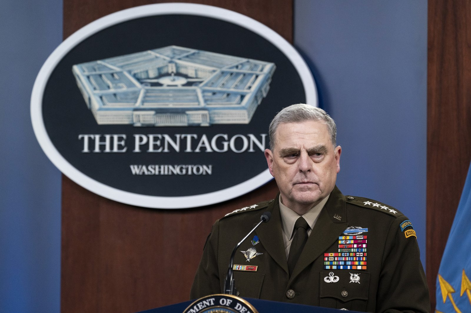 Chairperson of the Joint Chiefs of Staff Gen. Mark Milley pauses while speaking during a media briefing at the Pentagon in Washington, D.C., U.S., Aug. 18, 2021. (AP Photo)