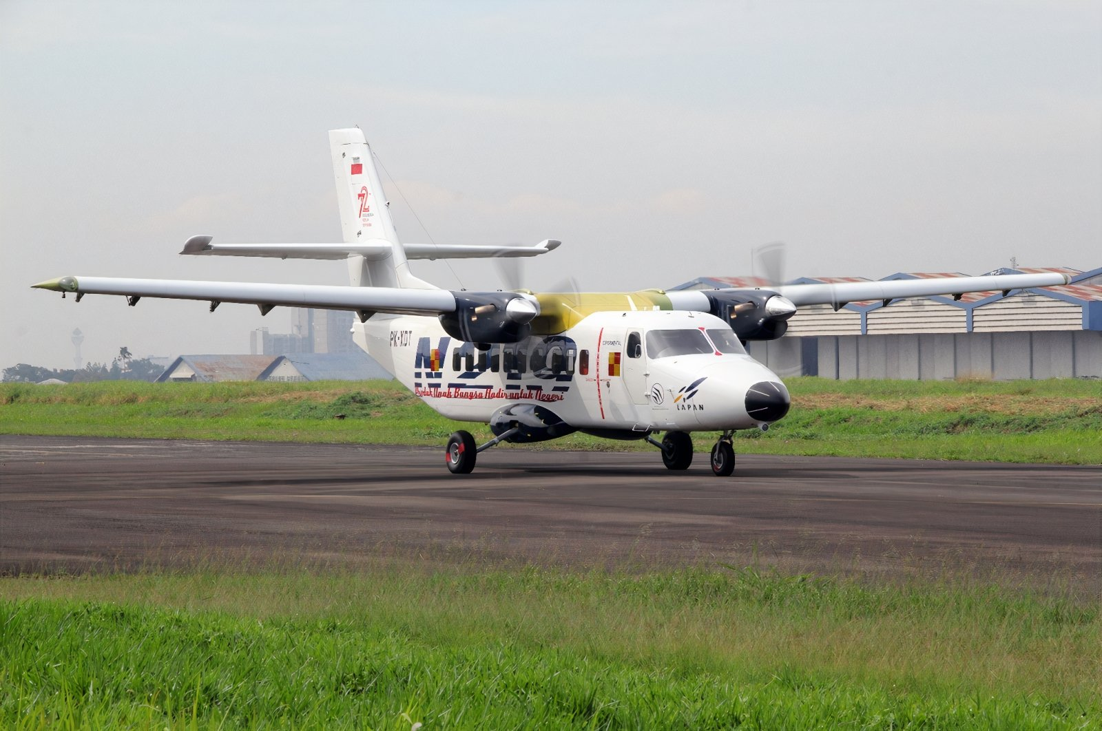 An Indonesian Air Force N219 aircraft lands after its test flight, Aug. 16, 2017. (Photo by Wikipedia)