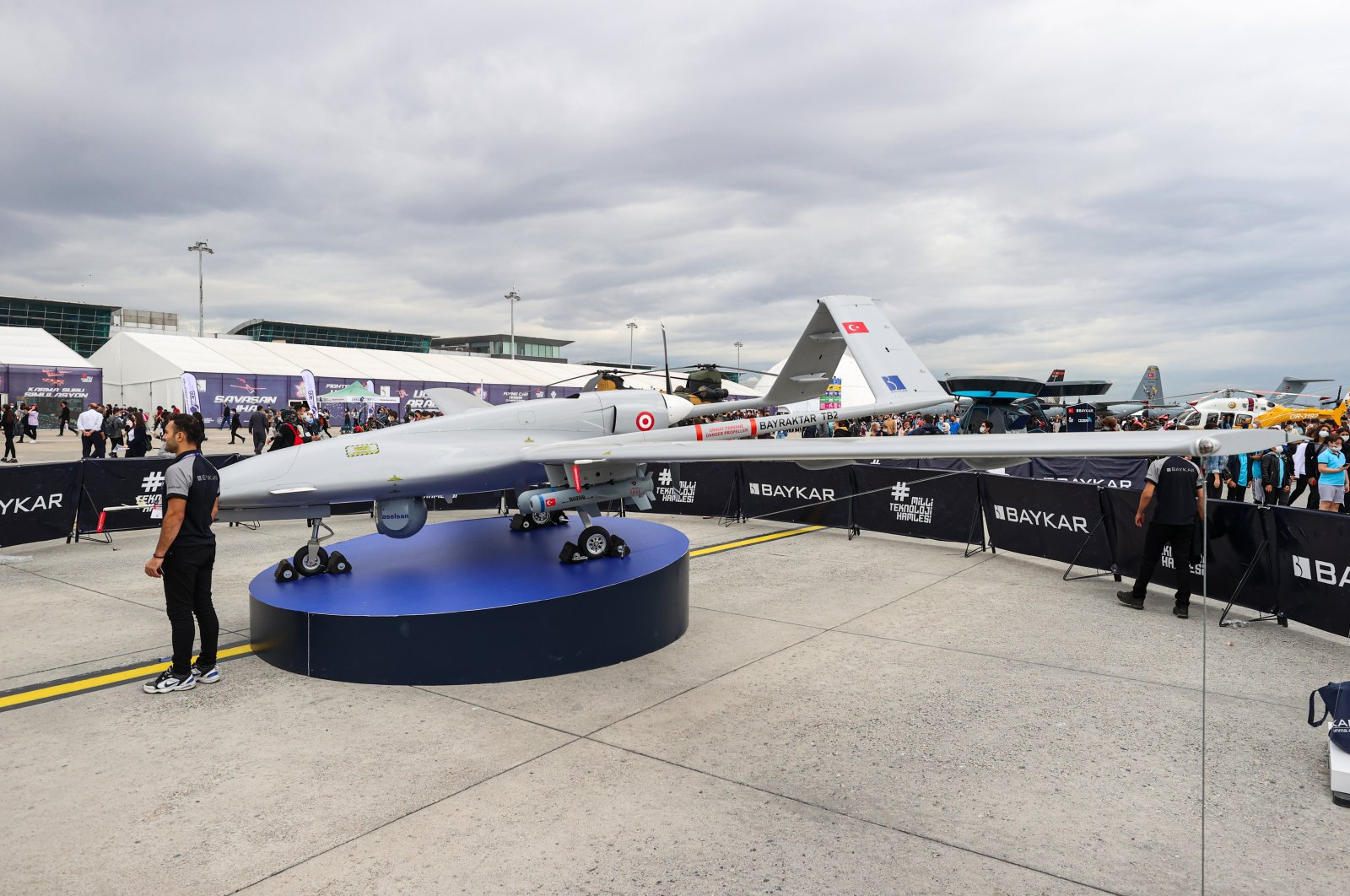 Baykar's Bayraktar TB2 UAV on display at Teknofest, Istanbul, Turkey, Sept. 22, 2021. (AA Photo)
