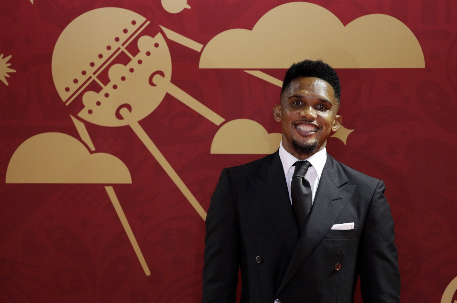Former Cameroon, Barcelona footballer Samuel Eto'o at the 2018 FIFA World Cup draw in the Kremlin in Moscow, Russia, Dec. 1, 2017. (AP Photo)