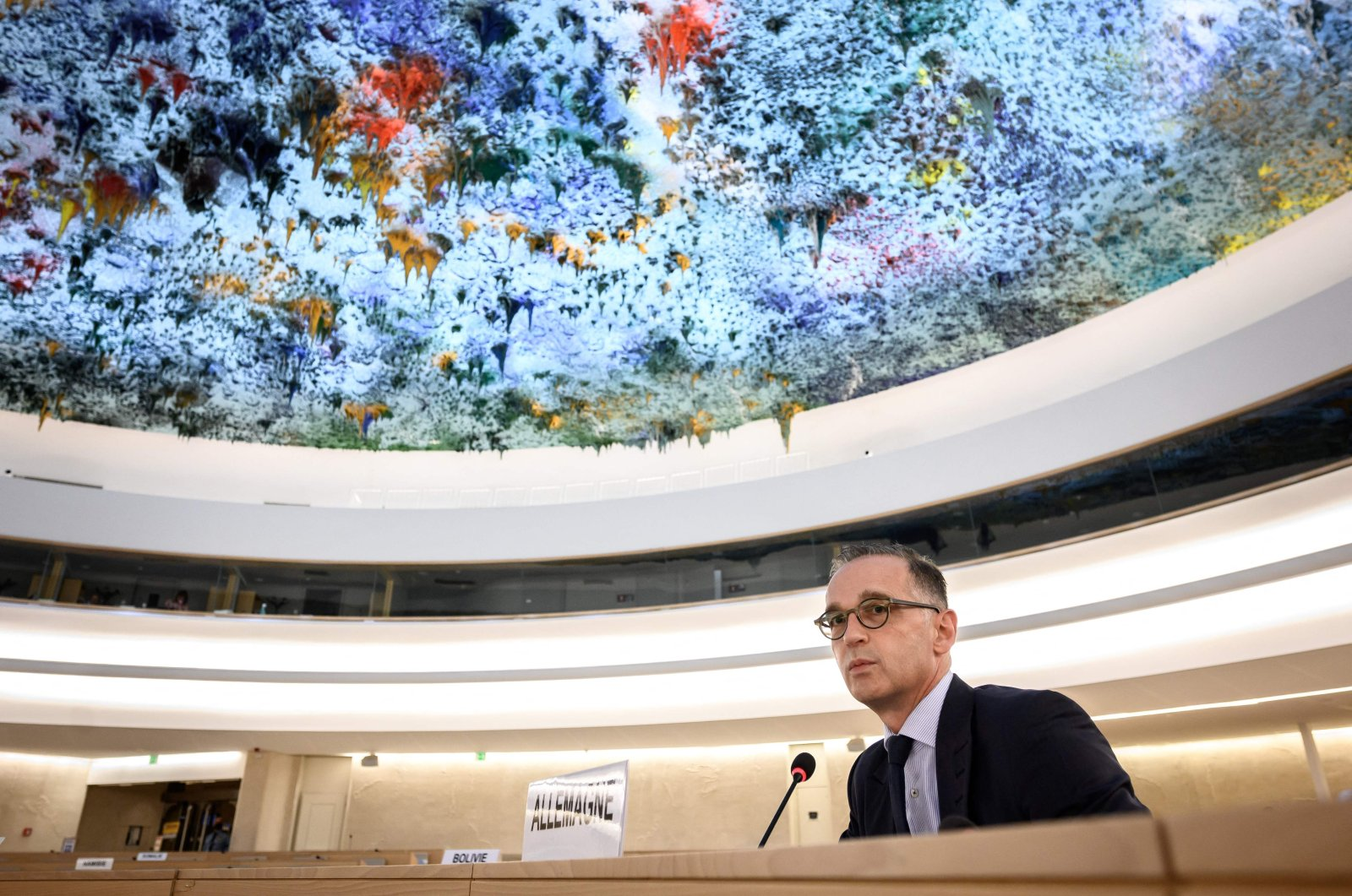 Germany's Foreign Minister Heiko Maas delivers a speech during a session of the U.N. Human Rights Council in Geneva, Switzerland, Sept. 13, 2021. (AFP Photo)