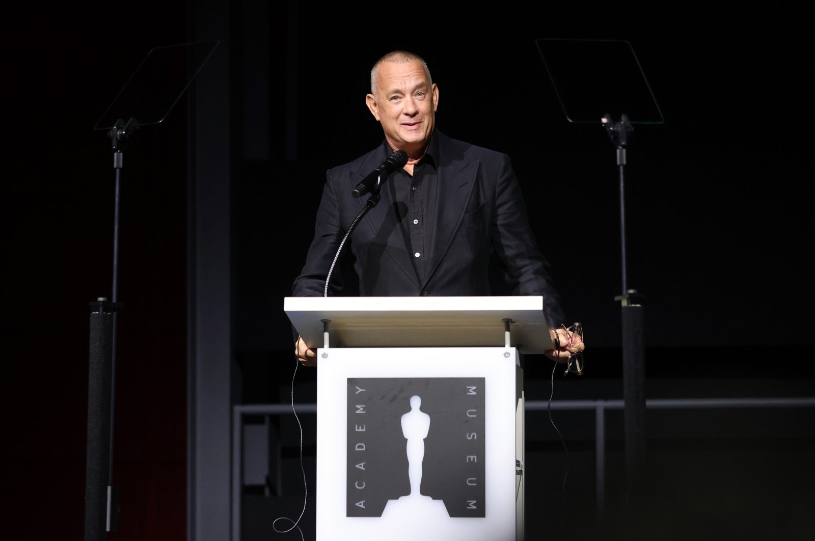 Academy Museum of Motion Pictures trustee Tom Hanks speaks onstage during a press conference at the museum in Los Angeles, California, U.S., Sept. 21, 2021. (AFP Photo)