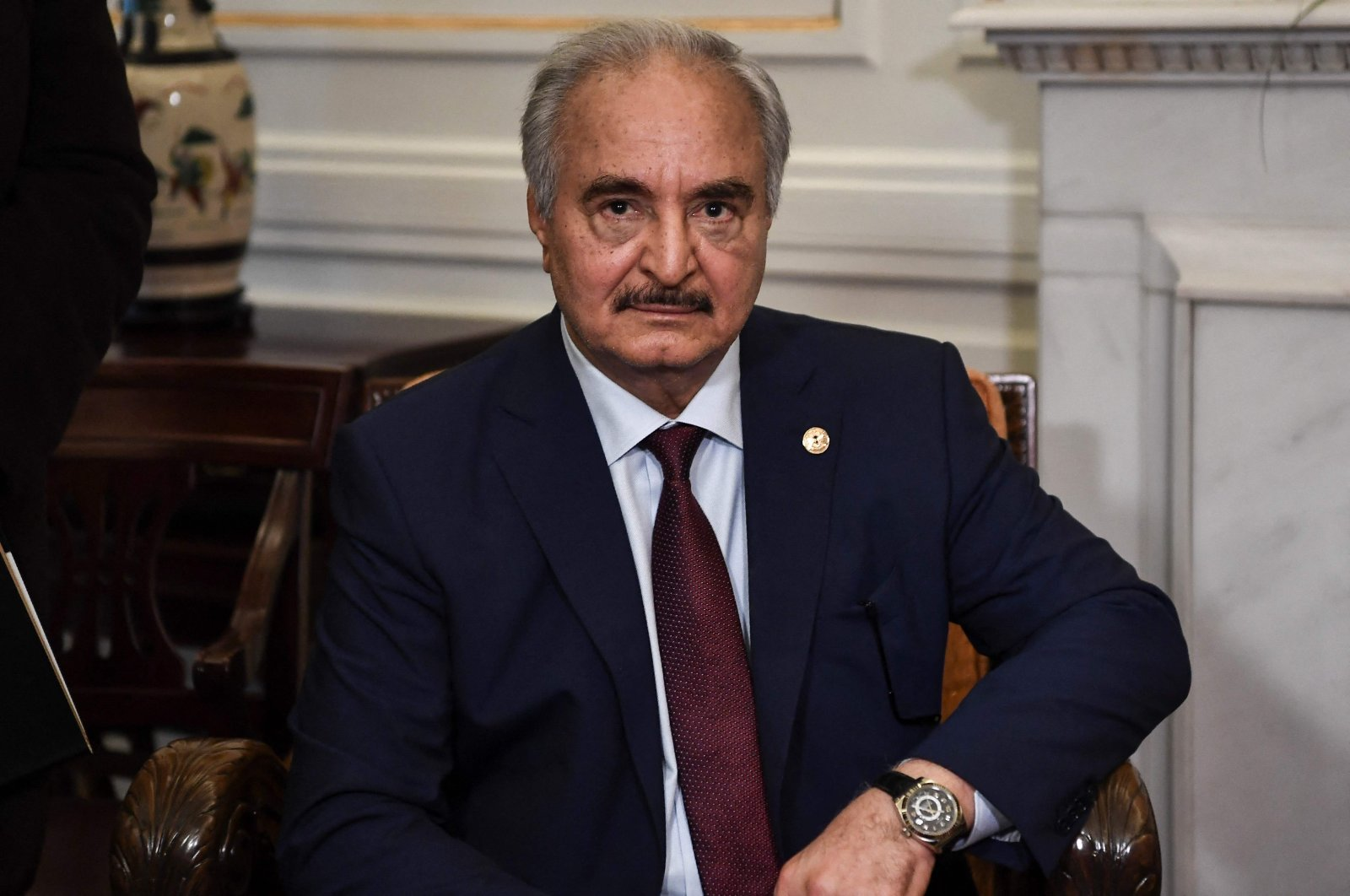 Libyan putschist Gen. Khalifa Haftar sits during talks with Greek foreign minister (unseen) in Athens, days ahead of a peace conference in Berlin, Germany, Jan. 17, 2020,  (AFP Photo)