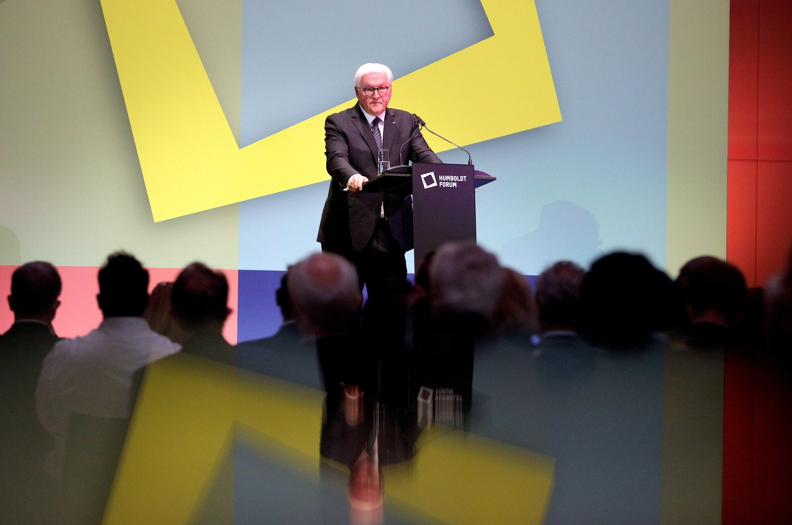 German President Frank-Walter Steinmeier addresses the participants of the ceremonial opening of the exhibitions at the Ethnological Museum and the Museum for Asian Art of the State Museums of Berlin at the Humboldt Forum Museum, in Berlin, Germany, Sept. 22, 2021.  (EPA Photo)
