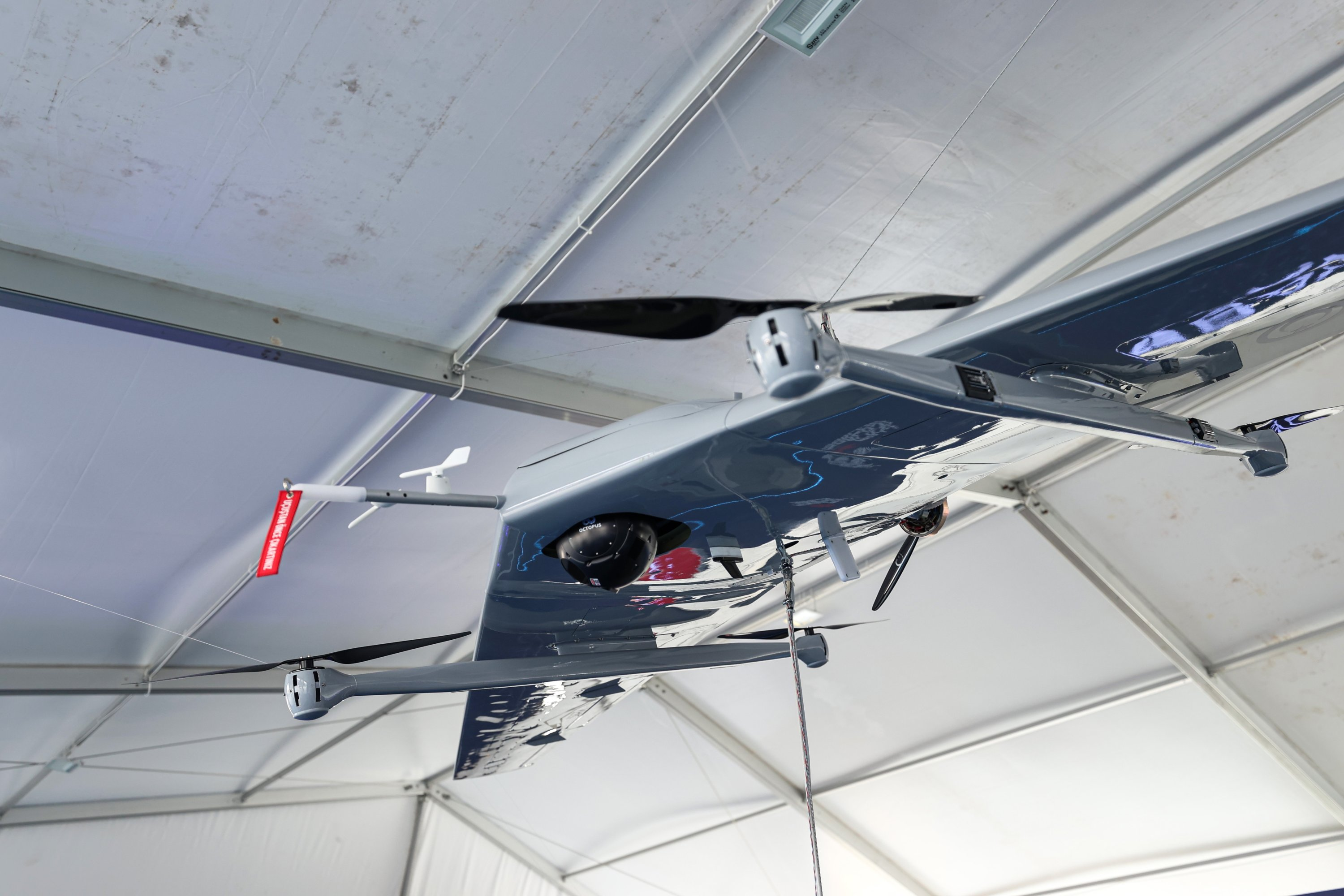 Baykar's vertical take-off and landing (VTOL) unmanned aerial vehicle (UAV) is on display at Turkey's largest technology and aviation event, Teknofest, in Istanbul, Turkey, Sept. 23, 2021. (AA Photo)