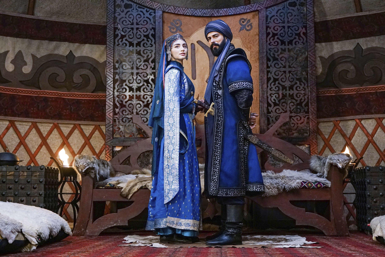 This still shot shows Burak Özçivit (R) and Özge Törer in 'Kuruluş: Osman' (The Ottoman), originally aired by Turkish broadcaster atv.
