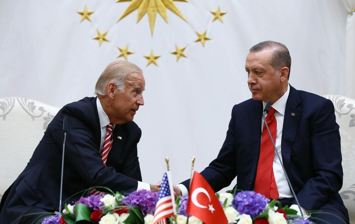 President Recep Tayyip Erdoğan shakes hands with then-U.S. Vice President Joe Biden at the Presidential Complex in the capital Ankara, Turkey, June 26, 2016. (Turkish Presidency Handout)
