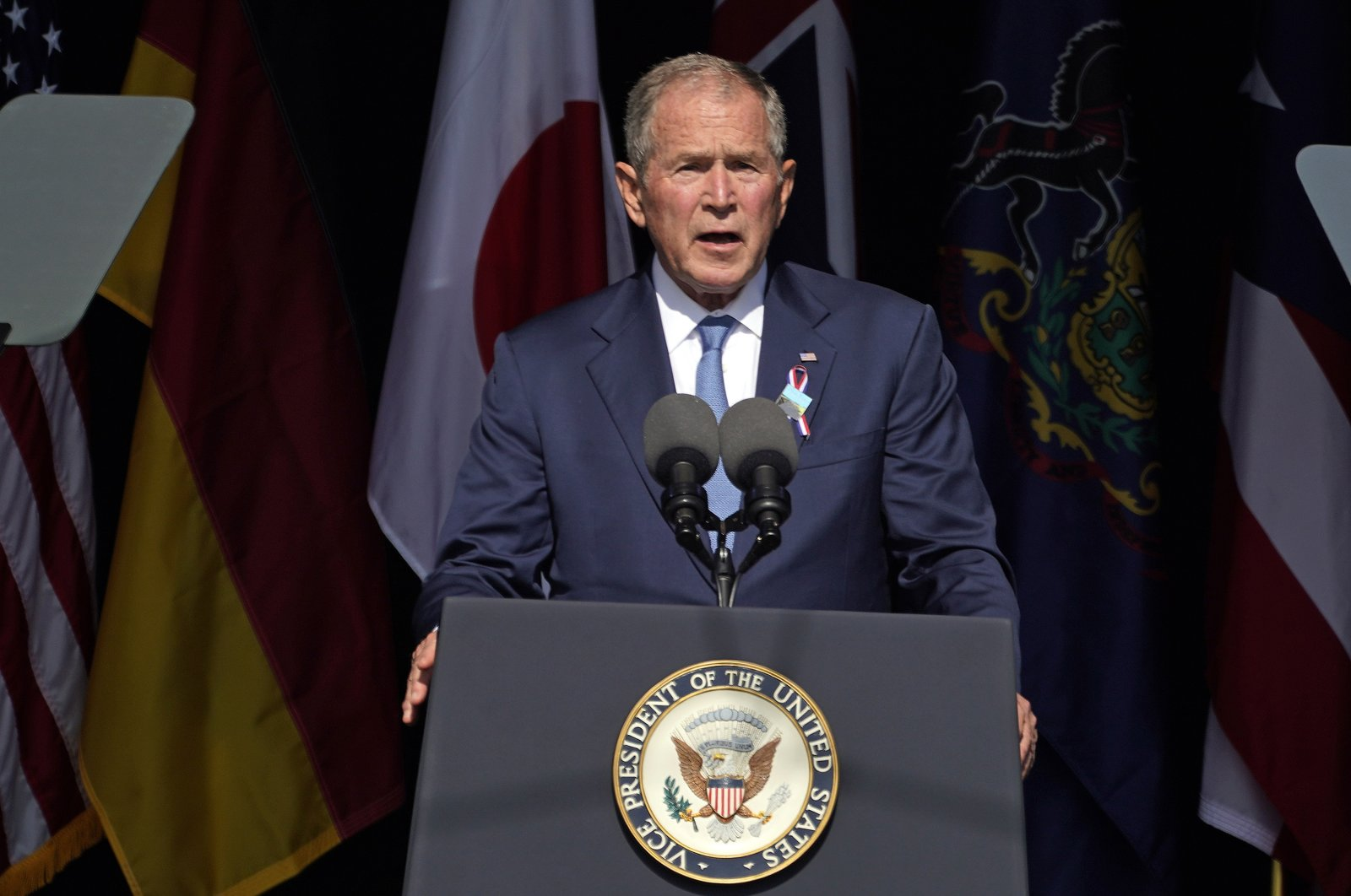 Former President George W. Bush speaks at the Flight 93 National Memorial in Shanksville, Pa., on the 20th anniversary of the Sept. 11, 2001 attacks, Sept. 11, 2021. (AP File Photo)
