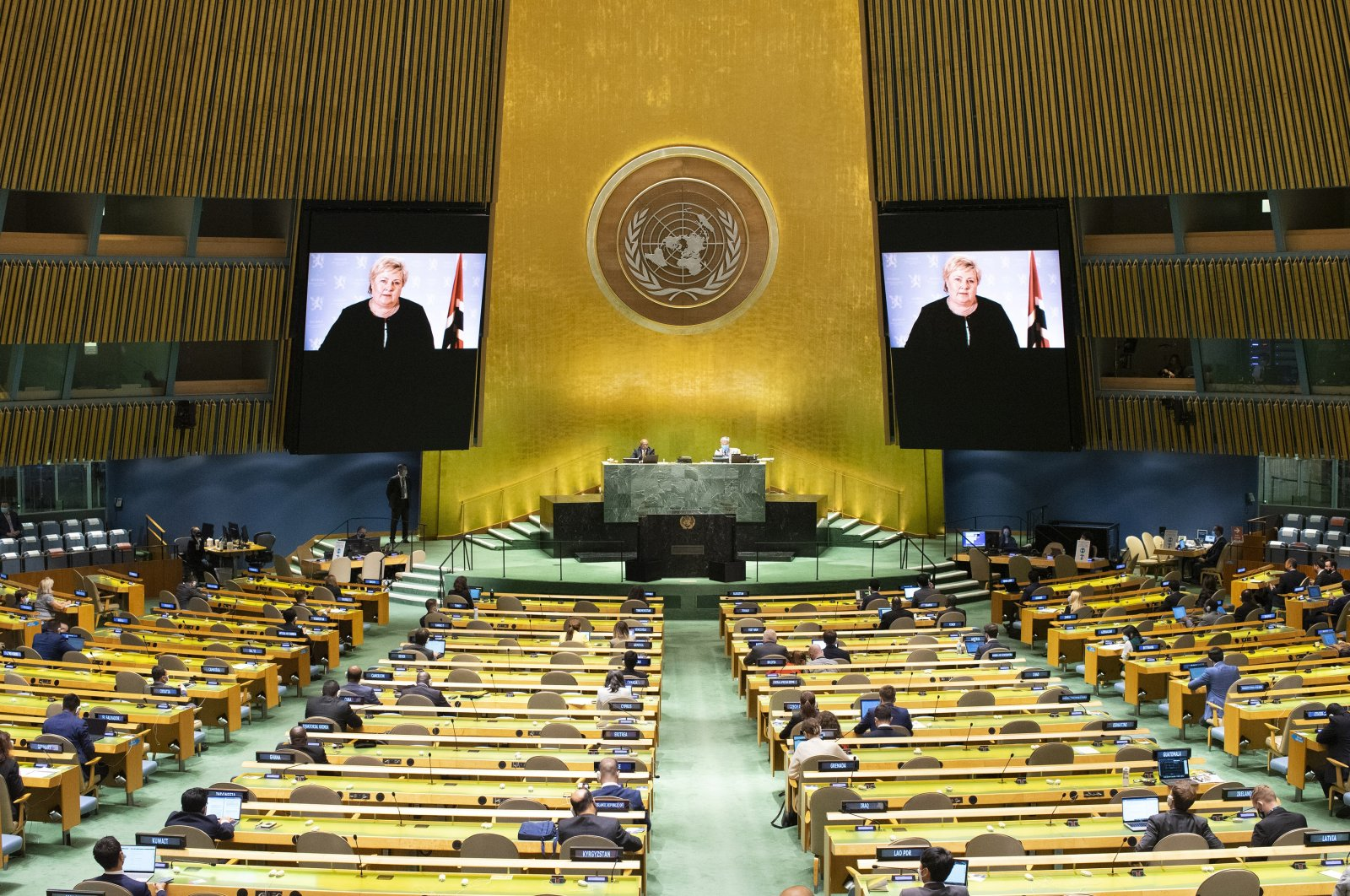 Norway's Prime Minister Erna Solberg remotely addresses the 76th Session of the United Nations General Assembly in a pre-recorded message at U.N. headquarters, Sept. 22, 2021. (AP Photo)