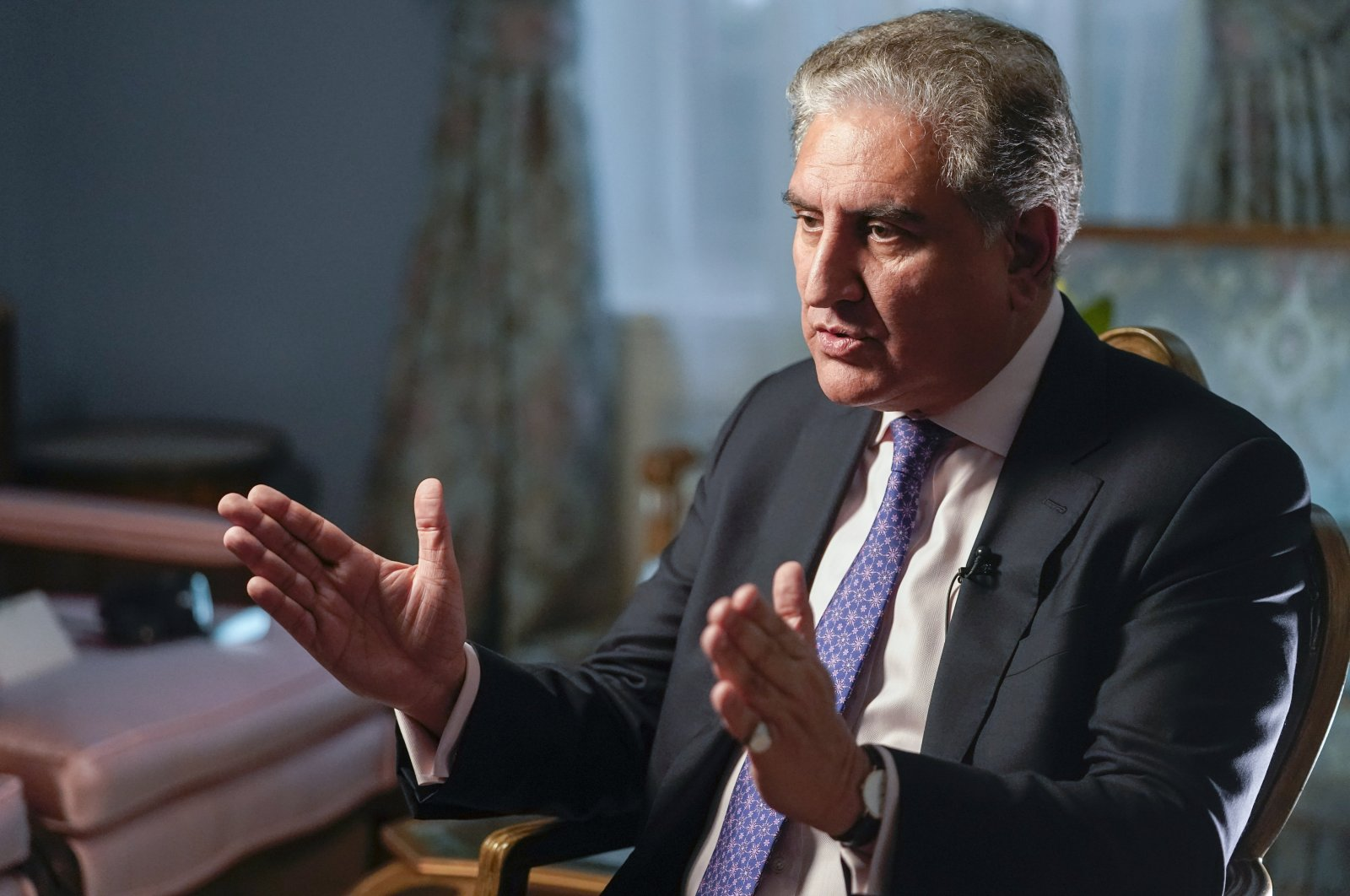 Pakistan's Foreign Minister Shah Mehmood Qureshi speaks during an interview with The Associated Press, Sept. 22, 2021, in New York, U.S. (AP Photo)