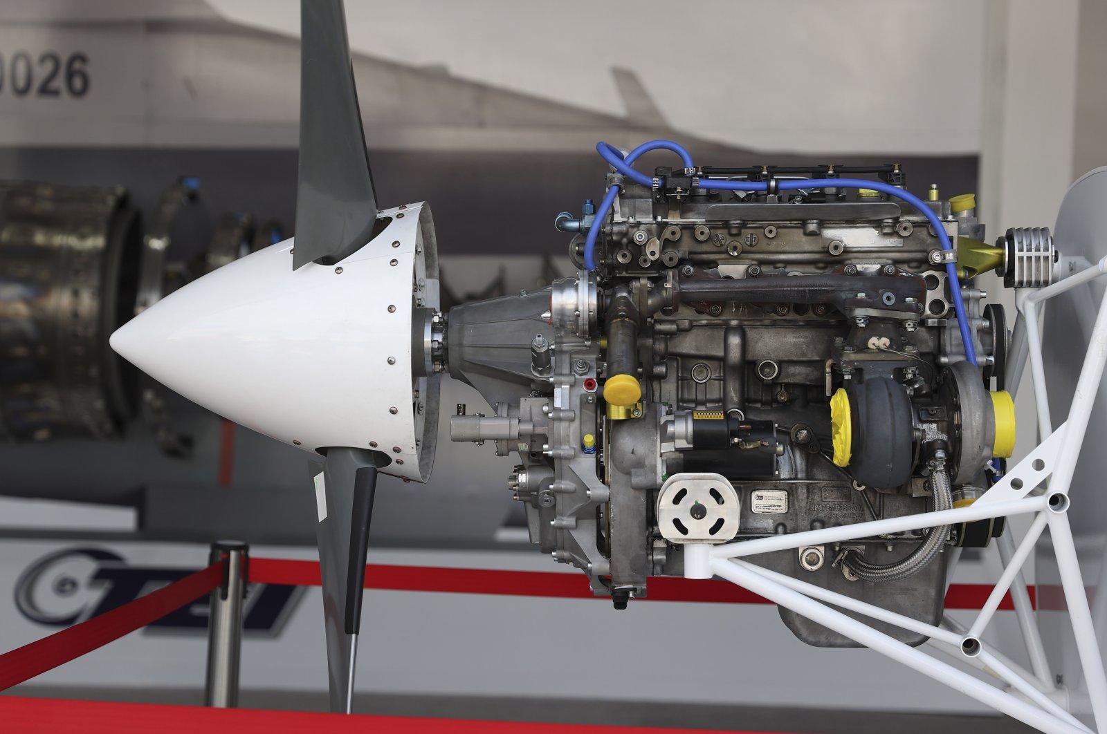 TEI's PD222ST engine on display at Teknofest, Istanbul, Turkey, Sept. 22, 2021. (AA Photo)