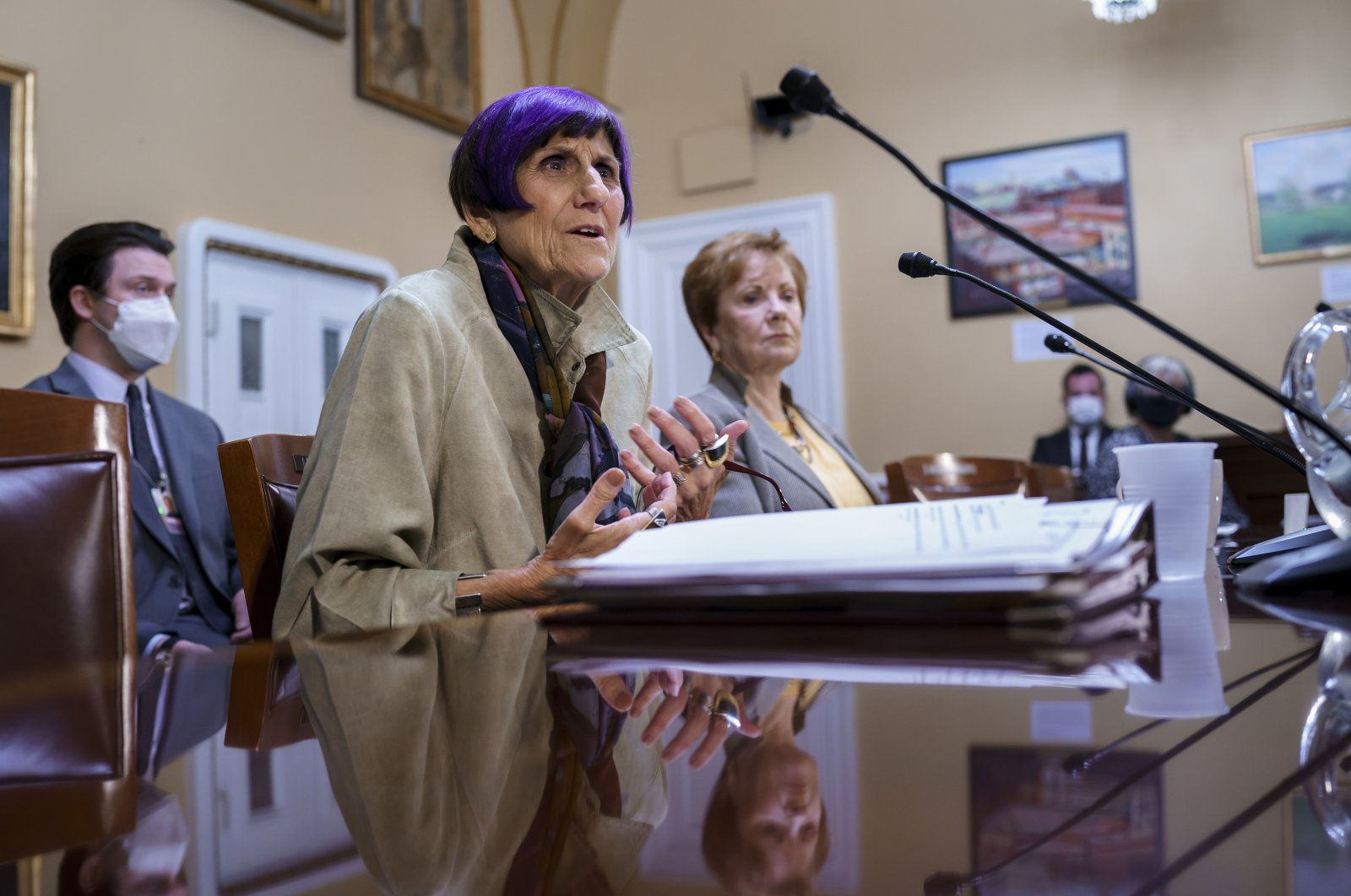 House Appropriations Committee Chair Rosa DeLauro, D-Conn. (L), joined by Rep. Kay Granger, R-Texas, the ranking member of appropriations, appear before the House Rules Committee as they field questions about the politics of the federal debt, in Washington, D.C., U.S., Sept. 21, 2021. (AP Photo)