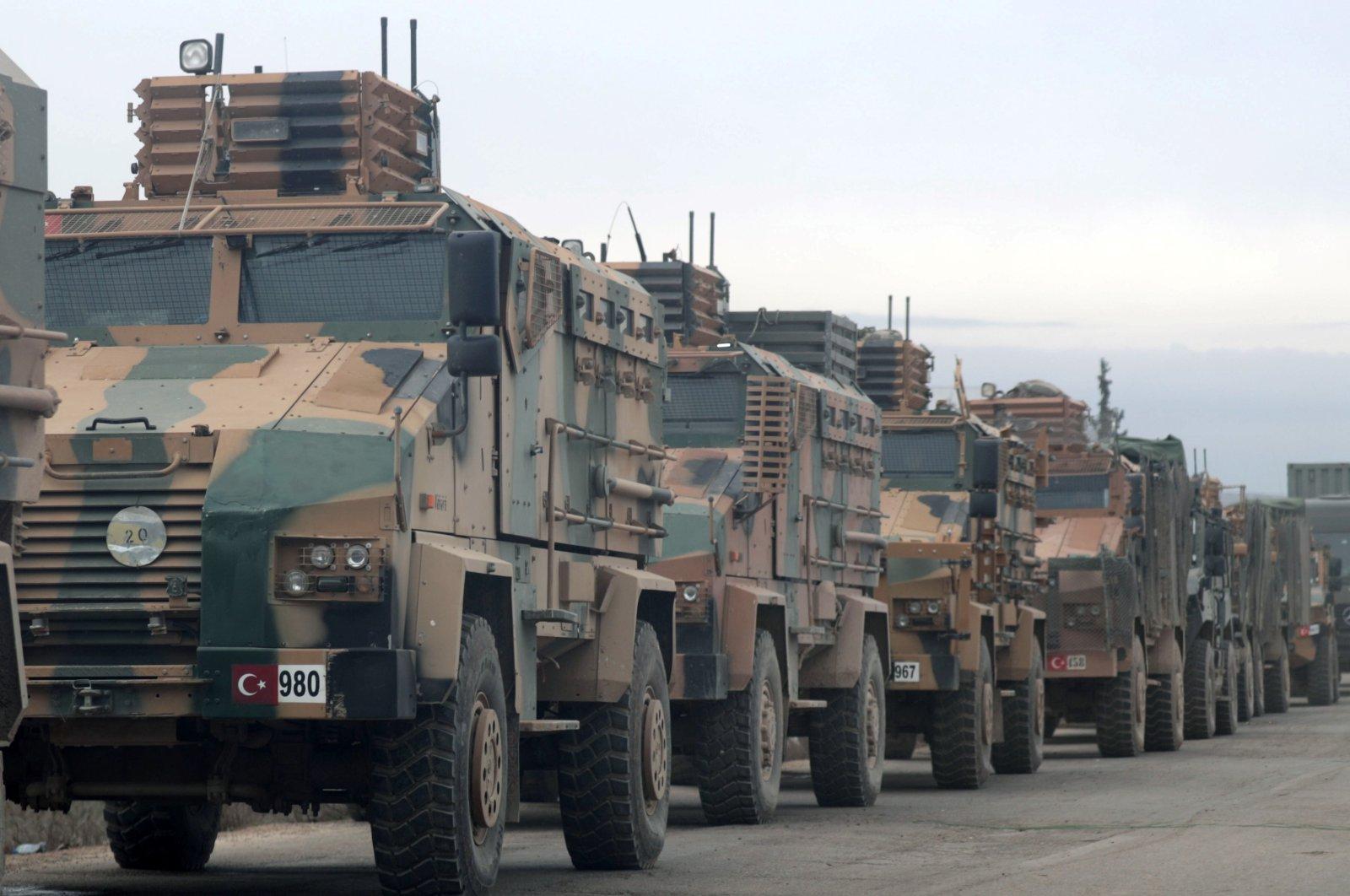 Turkish military vehicles are seen in Hazano near Idlib, Syria, Feb. 11, 2020. (Reuters File Photo)