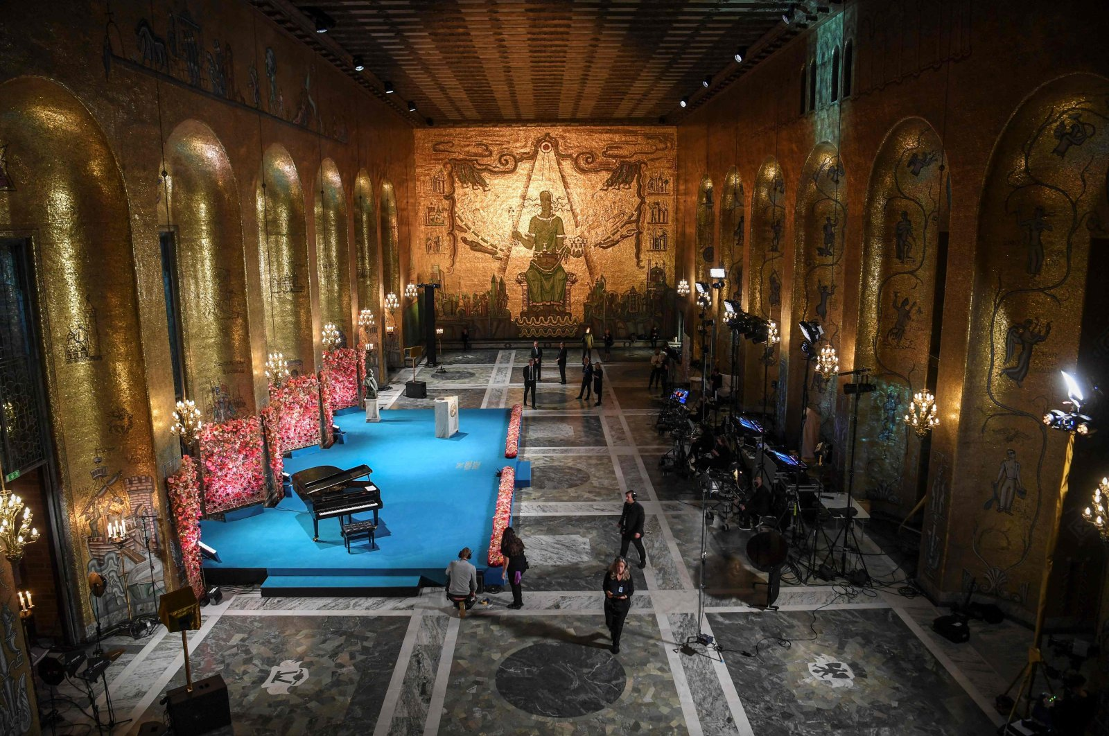 The Golden Hall of Stockholm City Hall is seen as preparations are underway before the start of the Nobel Prize ceremony held digitally due to the coronavirus pandemic, Dec. 10, 2020, Stockholm, Sweden. (AFP File Photo)