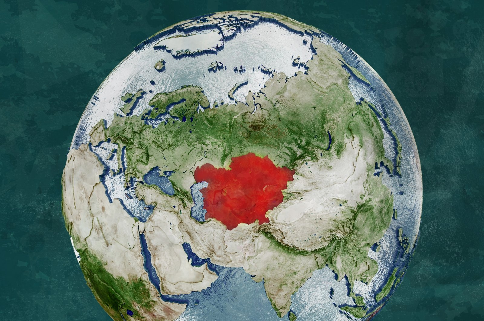 The photo illustration shows the globe map with the Central Asian region in red. (Photo by Shutterstock)