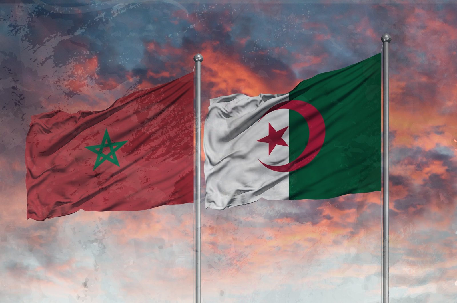 The photo illustration shows the flags of Morocco (L) and Algeria. (Photo by Shutterstock)