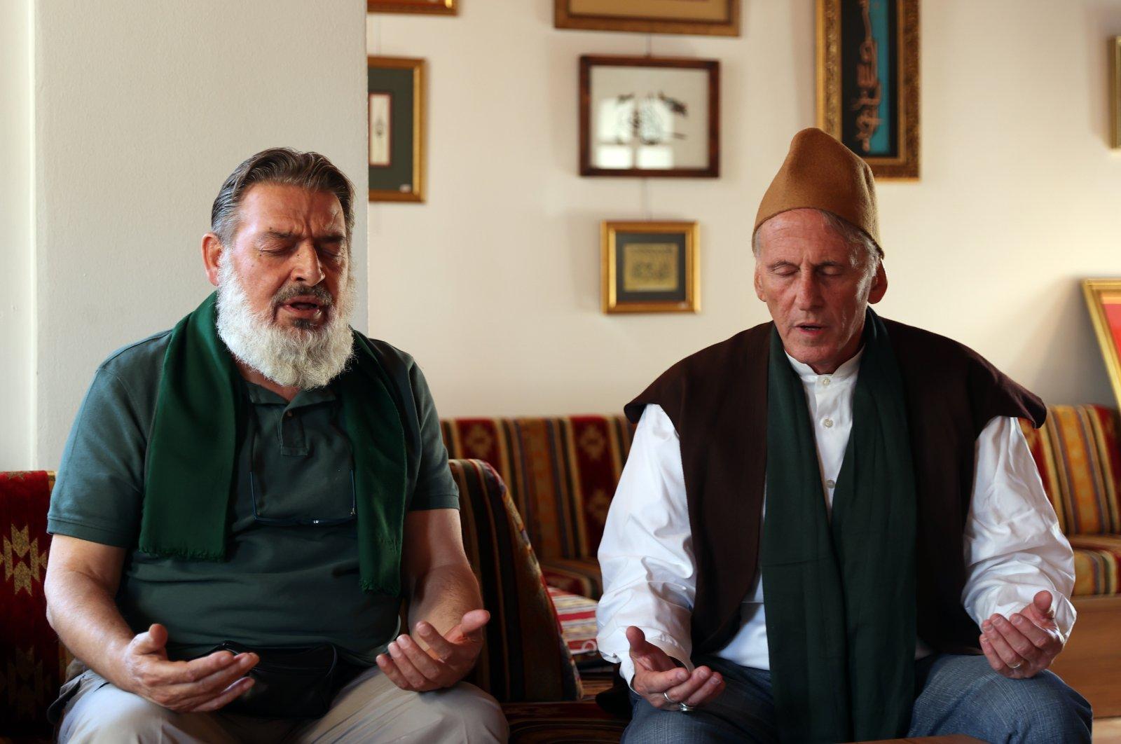 Ismail Fenter (R) prays along with Nadir Karnıbüyük in Konya, central Turkey, Sept. 23, 2021. (AA Photo)