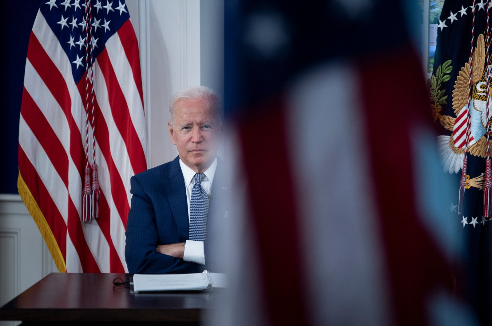 U.S. President Joe Biden convenes a virtual COVID-19 summit on the sidelines of the U.N. General Assembly from the South Court Auditorium of the White House in Washington, D.C., U.S., Sept. 22, 2021. (AFP Photo)