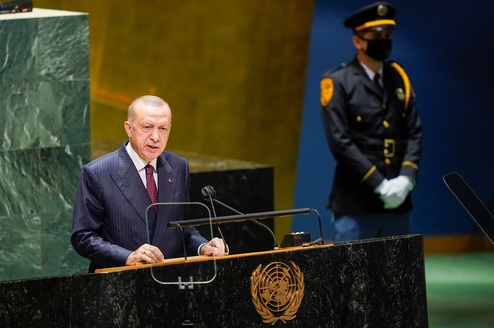 Turkish President Recep Tayyip Erdoğan speaks during the 76th Session of the General Assembly at U.N. Headquarters in New York on September 21, 2021. Mary Altaffer/Pool via REUTERS