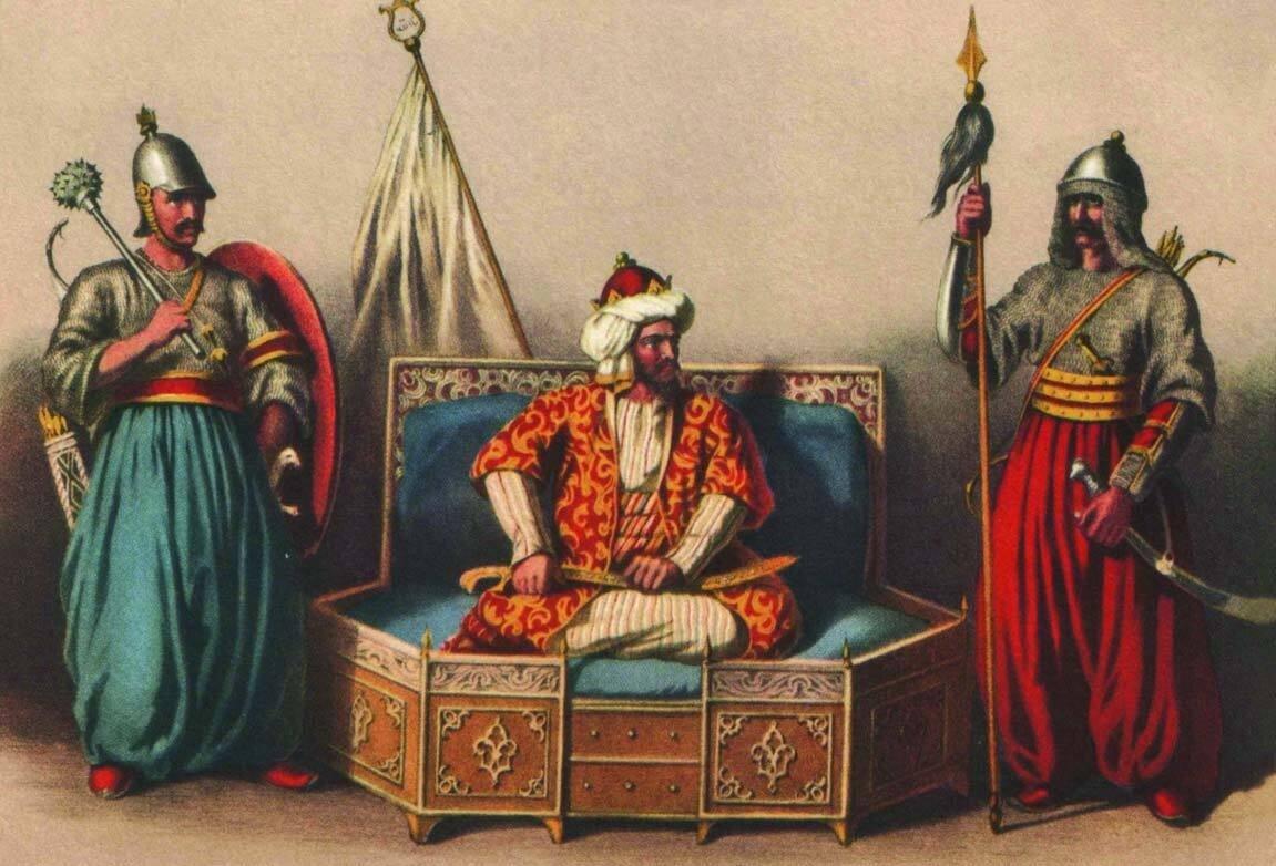 This undated painting shows Osman Ghazi (C) alongside Akçakoca Bey (L) and Konur Alp, early leading commanders of the Ottomans. (Wikimedia)