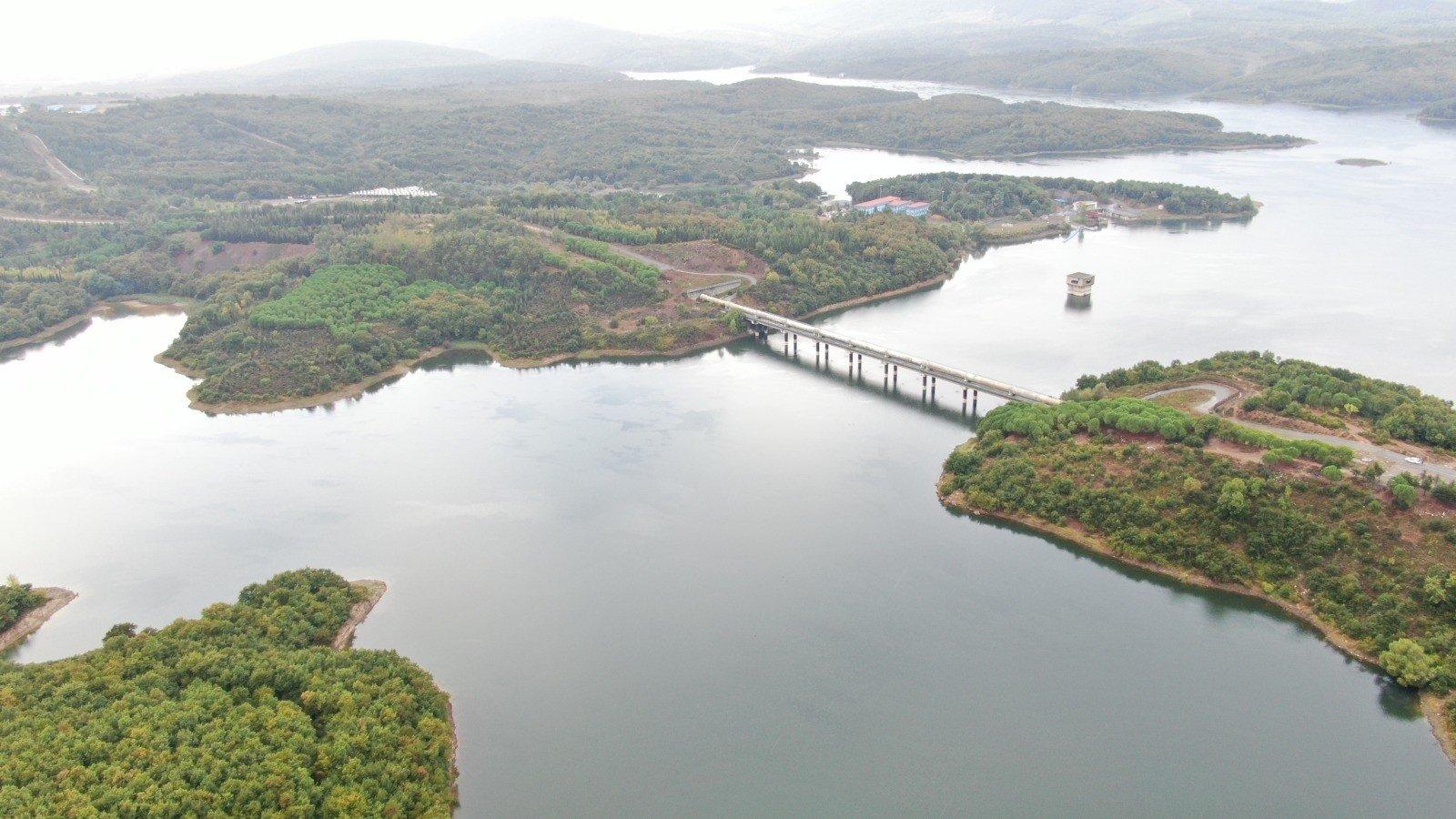 A view of the reservoir of Ömerli Dam, in Istanbul, Turkey, Sept. 24, 2021. (İHA PHOTO)