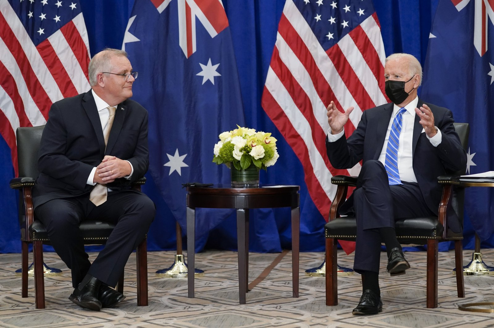 President Joe Biden (R) meets with Australian Prime Minister Scott Morrison at the Intercontinental Barclay Hotel during the United Nations General Assembly in New York, U.S., Sept. 21, 2021. (AP Photo / Evan Vucci, File)