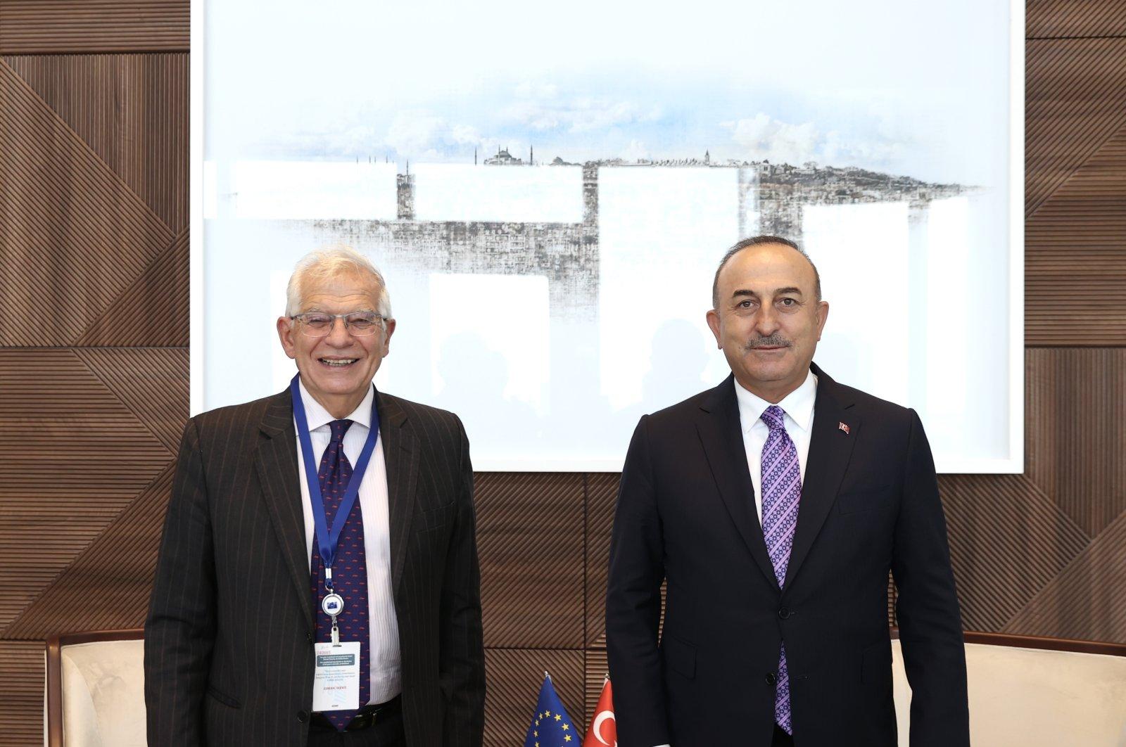 Foreign Minister Mevlüt Çavuşoğlu (R) on Thursday with Josep Borrell, the EU foreign affairs chief on the sidelines of the UNGA in New York, U.S., Sept. 23, 2021 (AA Photo)