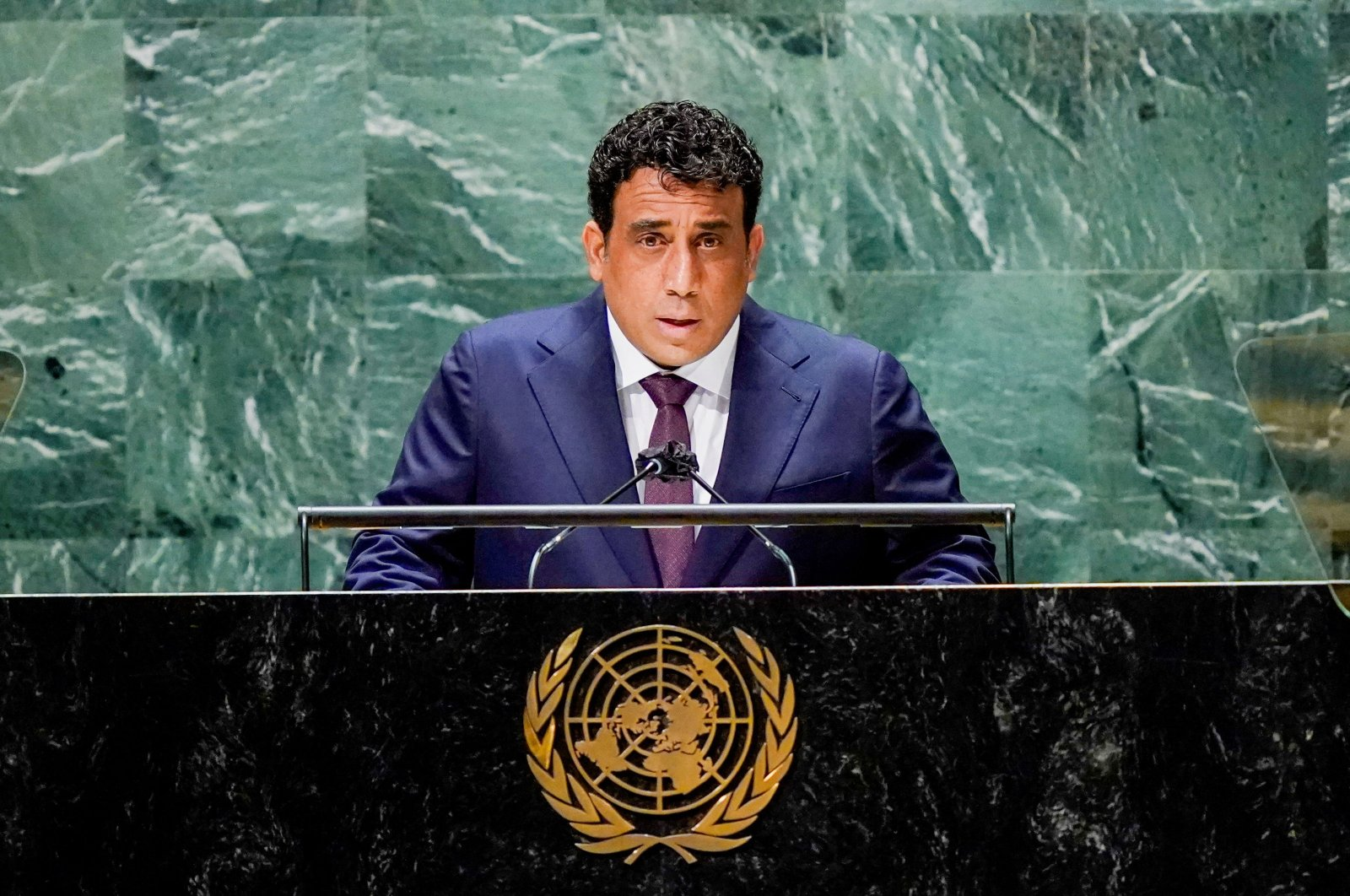 Libyan Presidential Council President Mohammad Younes Menfi addresses the 76th session of the United Nations General Assembly, at the U.N. headquarters in New York, U.S., Sept. 23, 2021.  (REUTERS Photo)