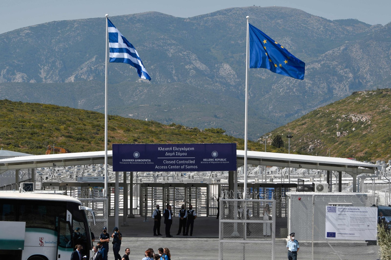 The entrance of the new EU-funded multi-purpose RIC ( reception and identification center) of migrants on the island of Samos, Greece, during its inauguration, Sept. 18, 2021. (AFP Photo)