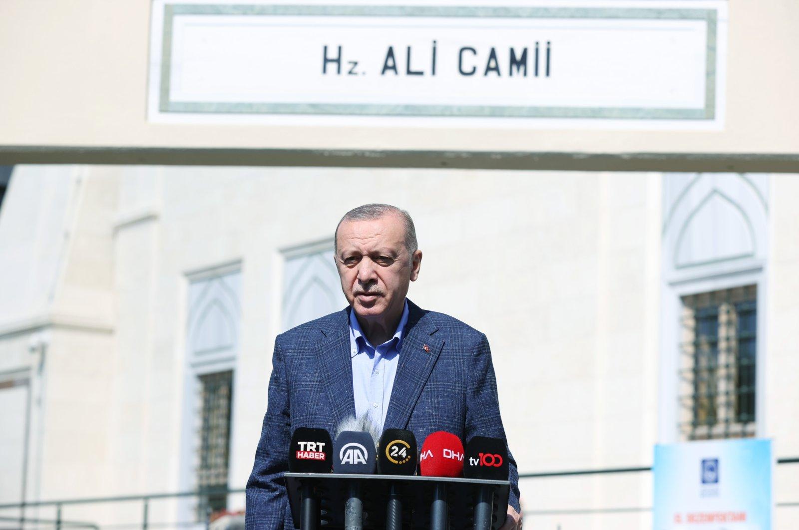 President Recep Tayyip Erdoğan addresses reporters after Friday prayers in Istanbul, Turkey, Sept. 24, 2021. (İHA Photo)