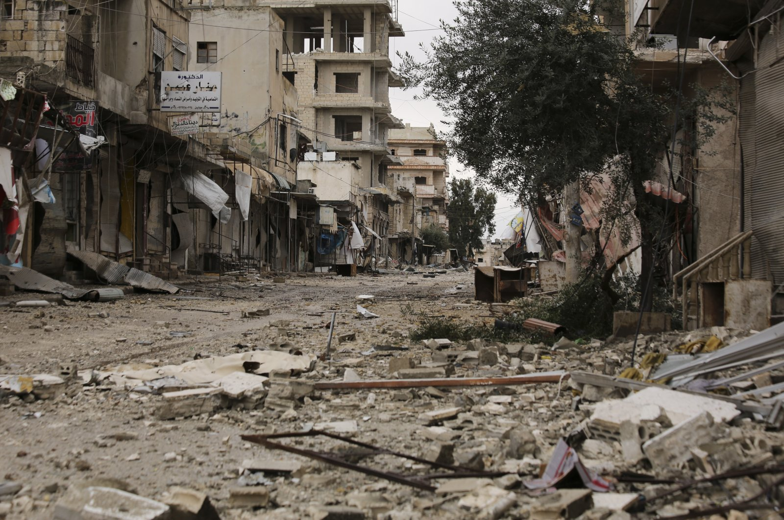 A street destroyed in bombings by the Syrian government forces is seen in the town of Sarmin, in Idlib province, Syria, Feb. 7, 2020. (AP File Photo)