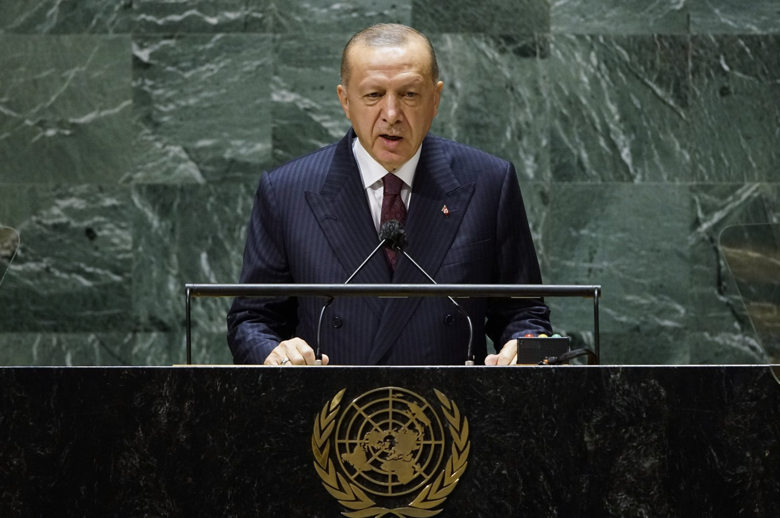 President Recep Tayyip Erdoğan addresses the 76th Session of the U.N. General Assembly at United Nations headquarters in New York, U.S., Sept. 21, 2021.  (AP File Photo)