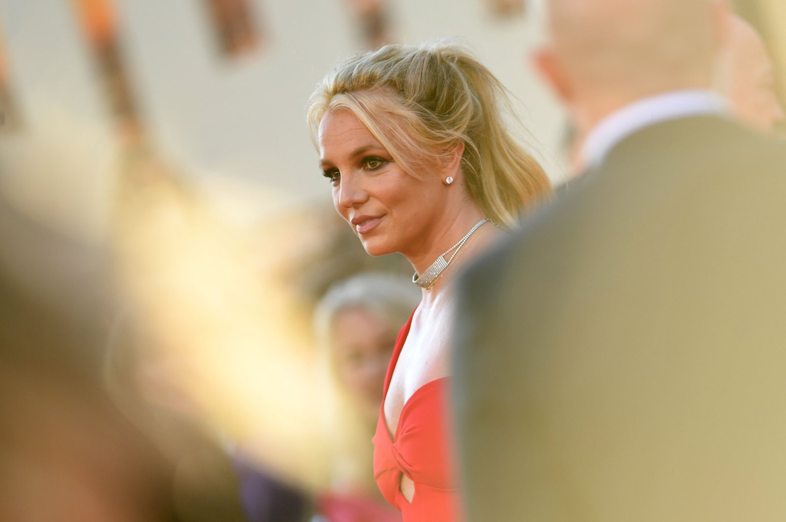 """Singer Britney Spears arrives for the premiere of Sony Pictures' """"Once Upon a Time... in Hollywood"""" at the TCL Chinese Theatre in Hollywood, California, U.S., July 22, 2019. (AFP Photo)"""