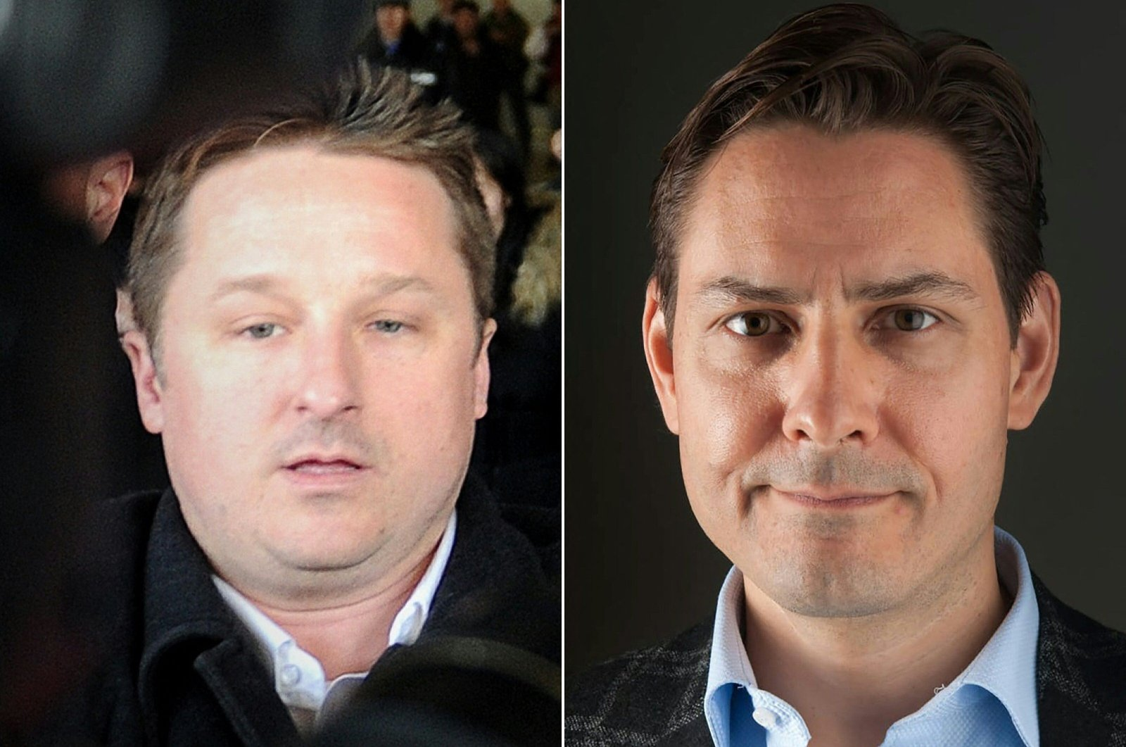 This combination of file pictures created on September 24, 2021, shows Canadian businessman Michael Spavor (L) walking at Beijing International Airport on January 13, 2014, after arriving from North Korea and an undated portrait picture released on December 11, 2018, in Washington by the International Crisis Group showing former Canadian diplomat Michael Kovrig. (CRISISGROUP/Julie David de Lossy via AFP)